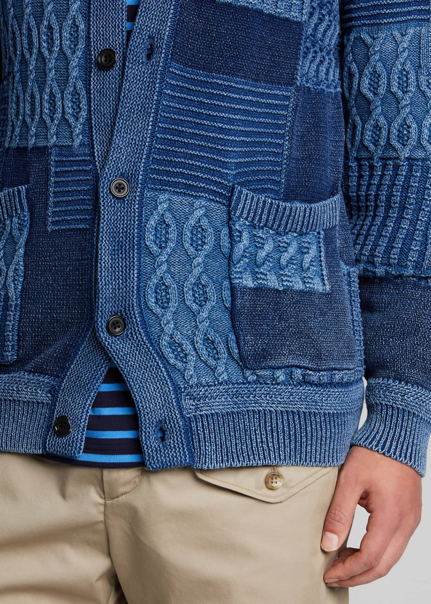 Image 4 of 5: Men's Patchwork Cable Cardigan Sweater