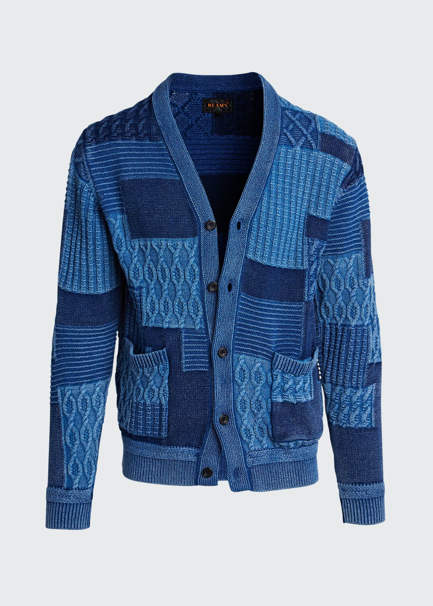 Image 5 of 5: Men's Patchwork Cable Cardigan Sweater