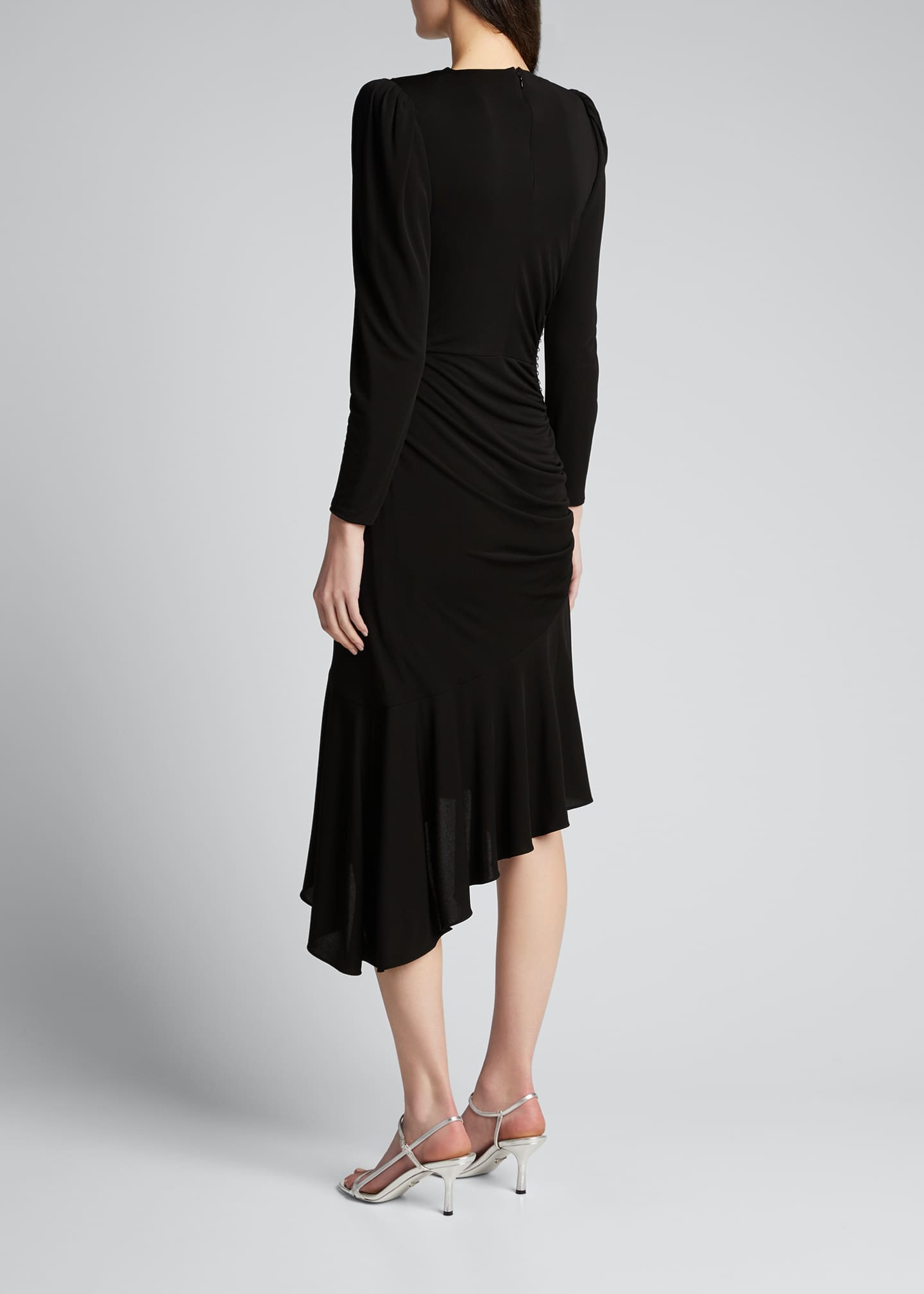 Image 2 of 5: Studded Leather Patch Asymmetric Dress
