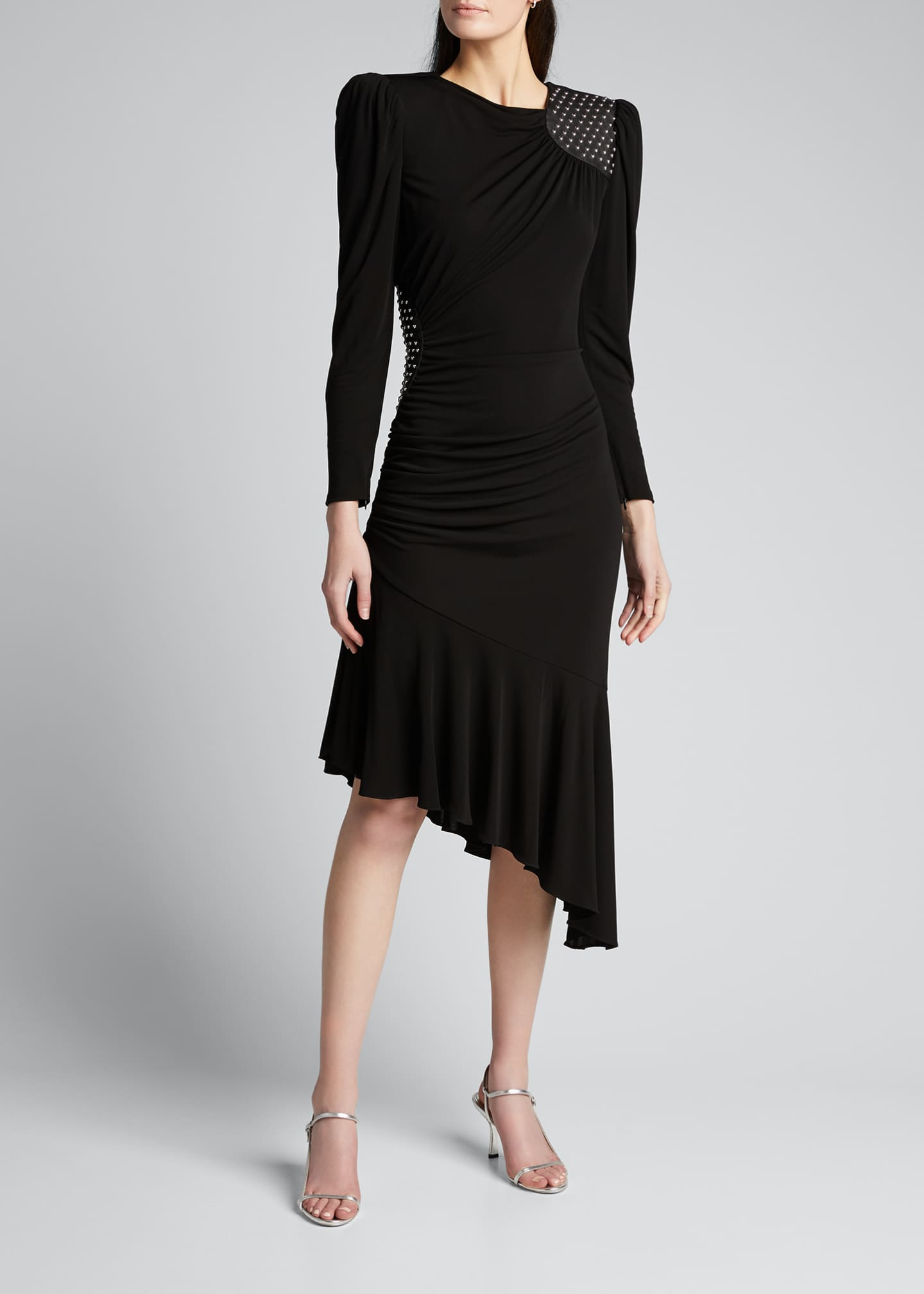 Image 3 of 5: Studded Leather Patch Asymmetric Dress
