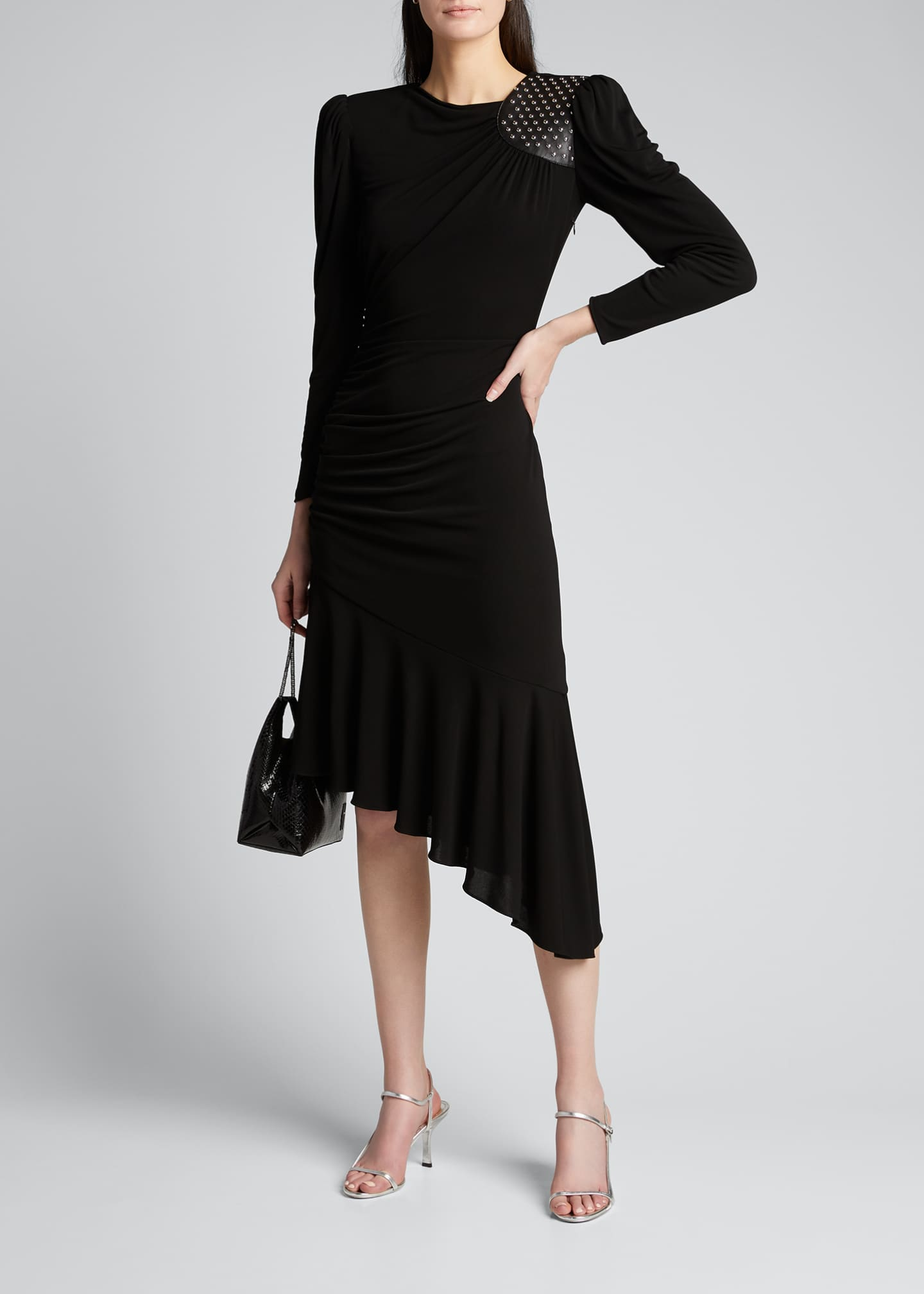 Image 1 of 5: Studded Leather Patch Asymmetric Dress