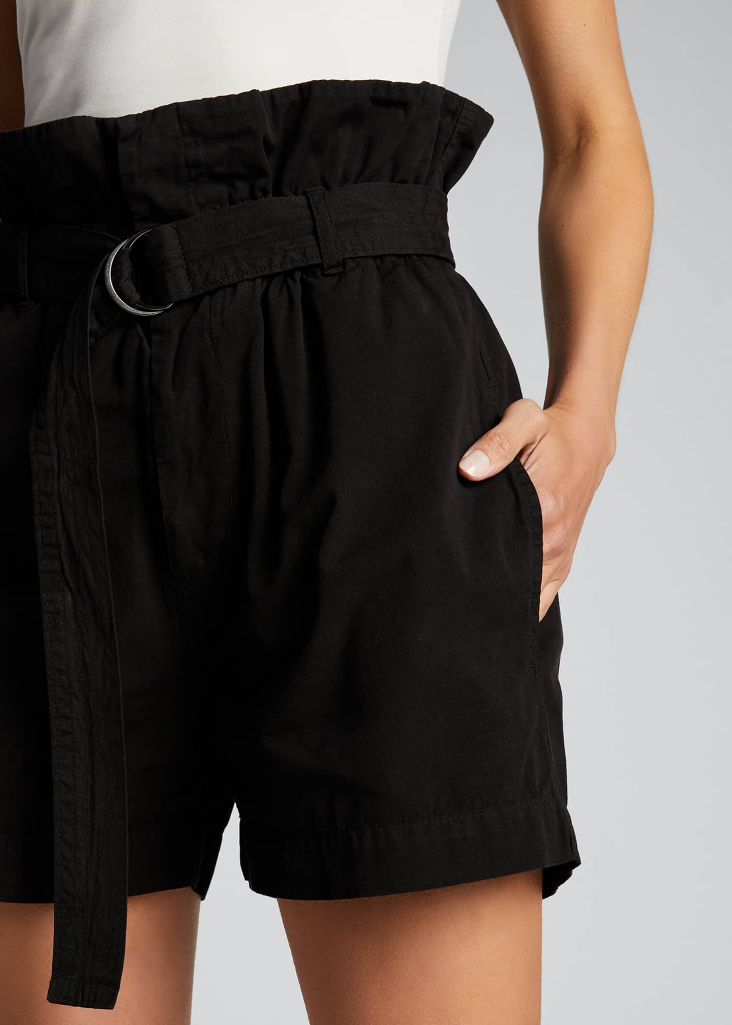 Image 4 of 4: Canvas Belted Paperbag Shorts