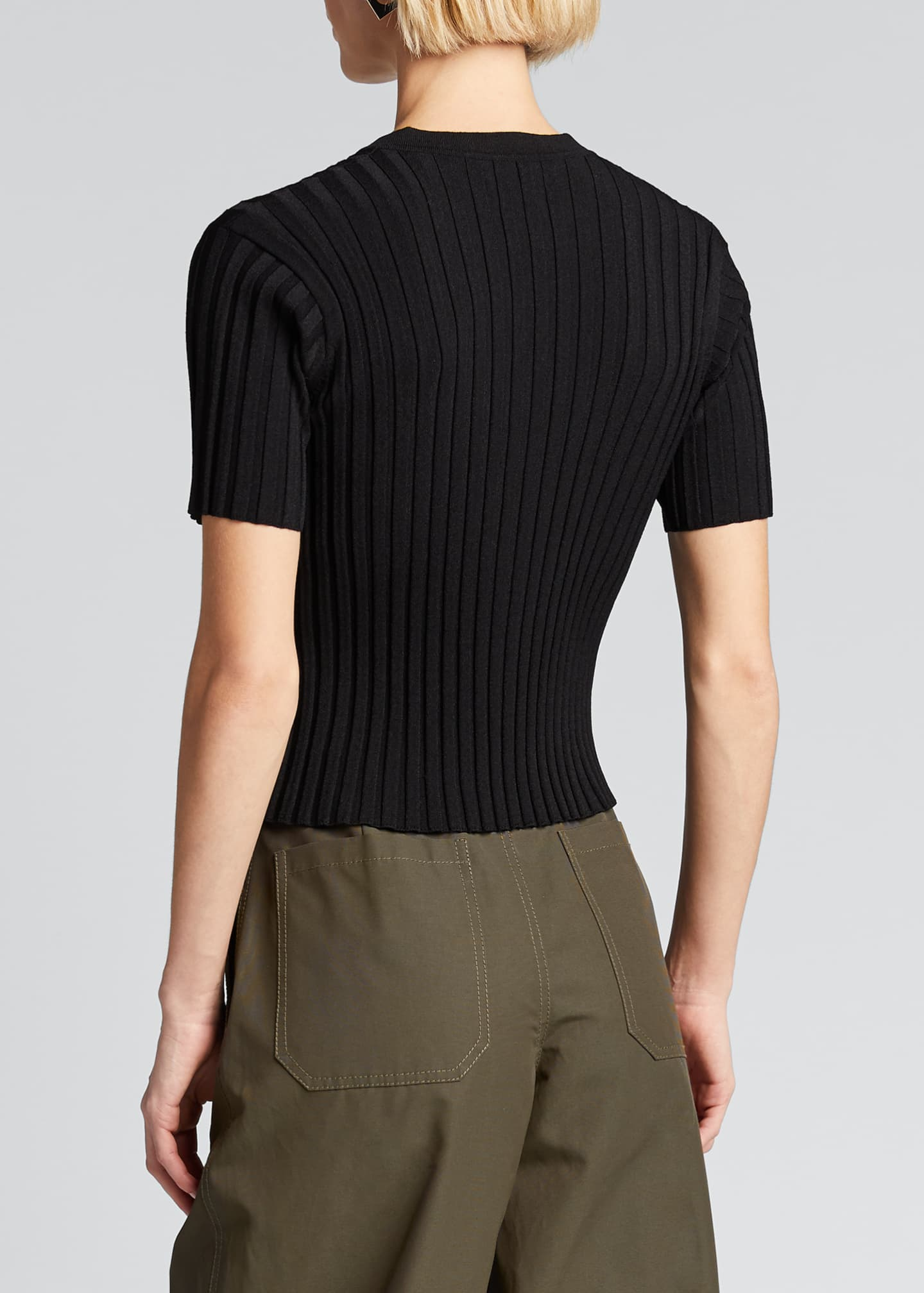 Image 2 of 5: Short-Sleeve Ribbed Henley Tee