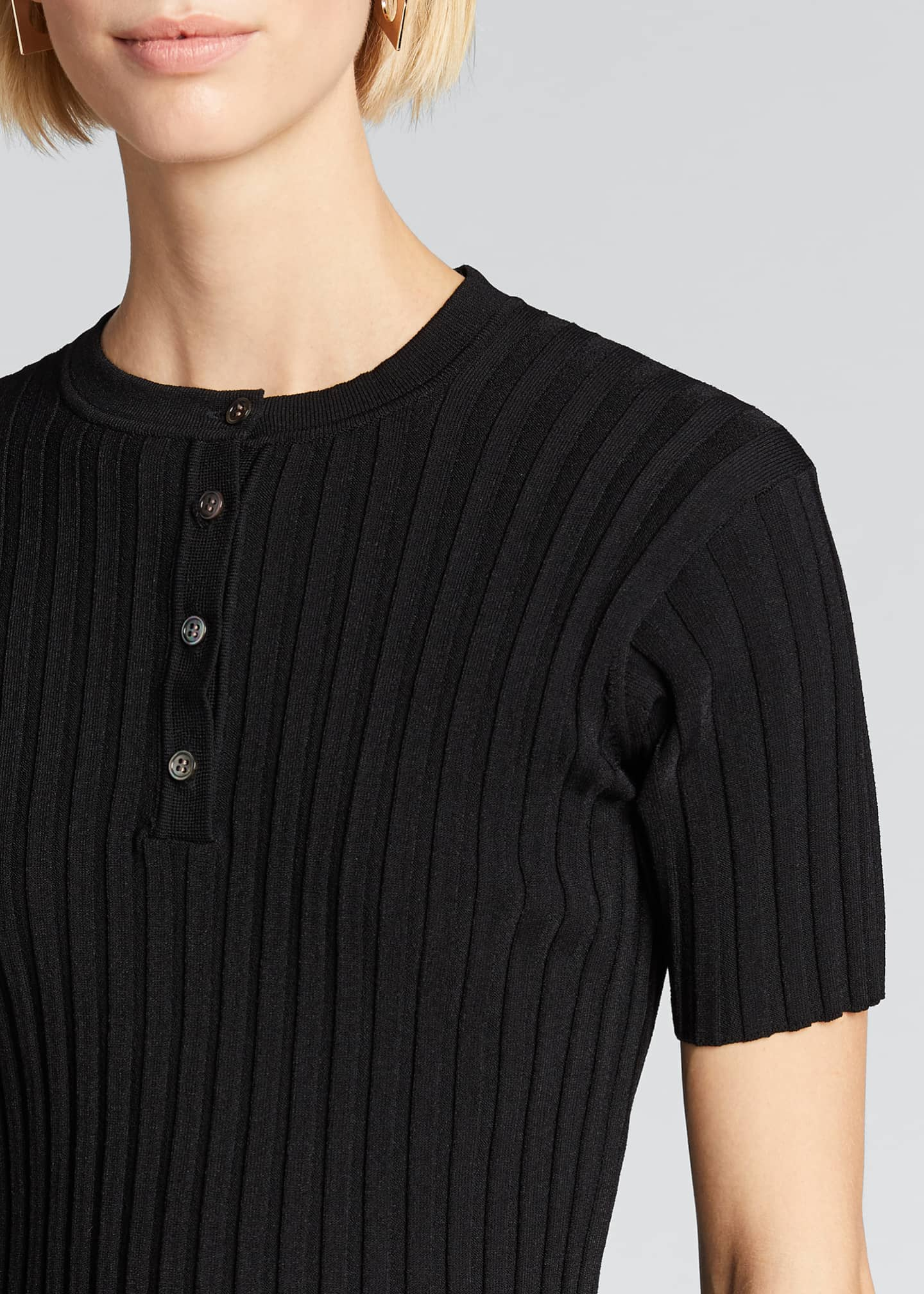 Image 4 of 5: Short-Sleeve Ribbed Henley Tee