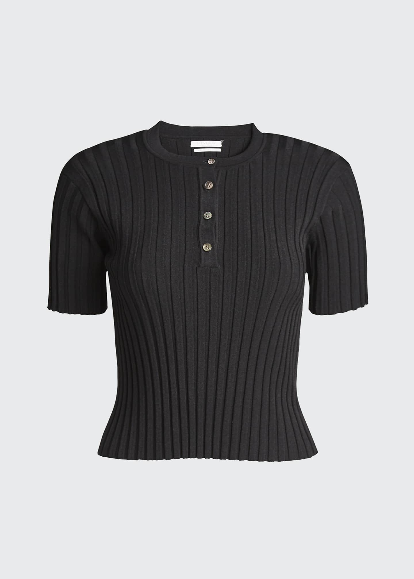 Image 5 of 5: Short-Sleeve Ribbed Henley Tee