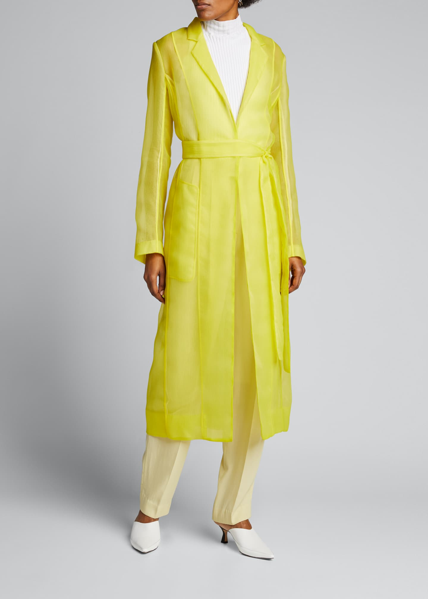 Image 3 of 5: Crinkled Organza Trench Coat