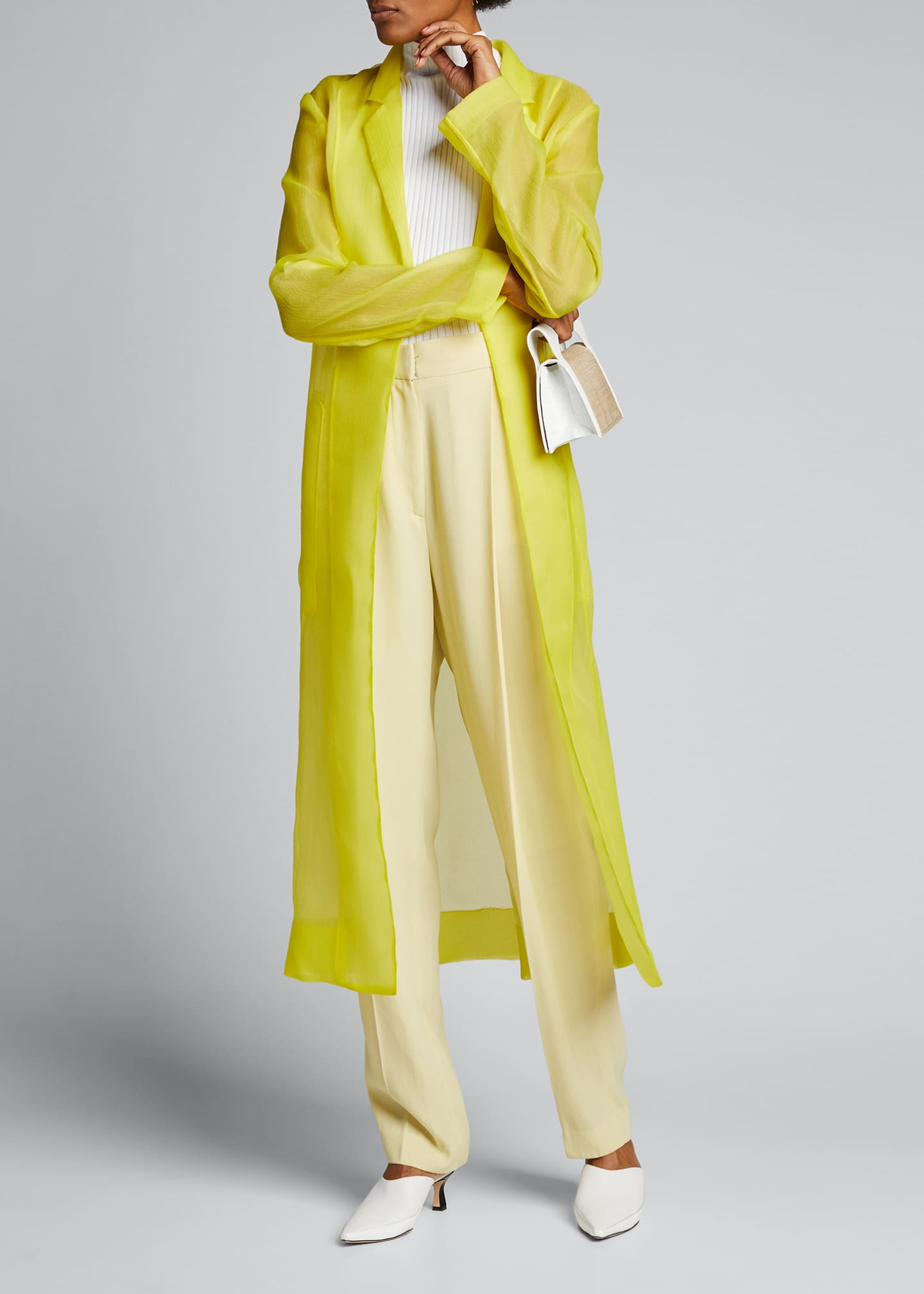 Image 1 of 5: Crinkled Organza Trench Coat