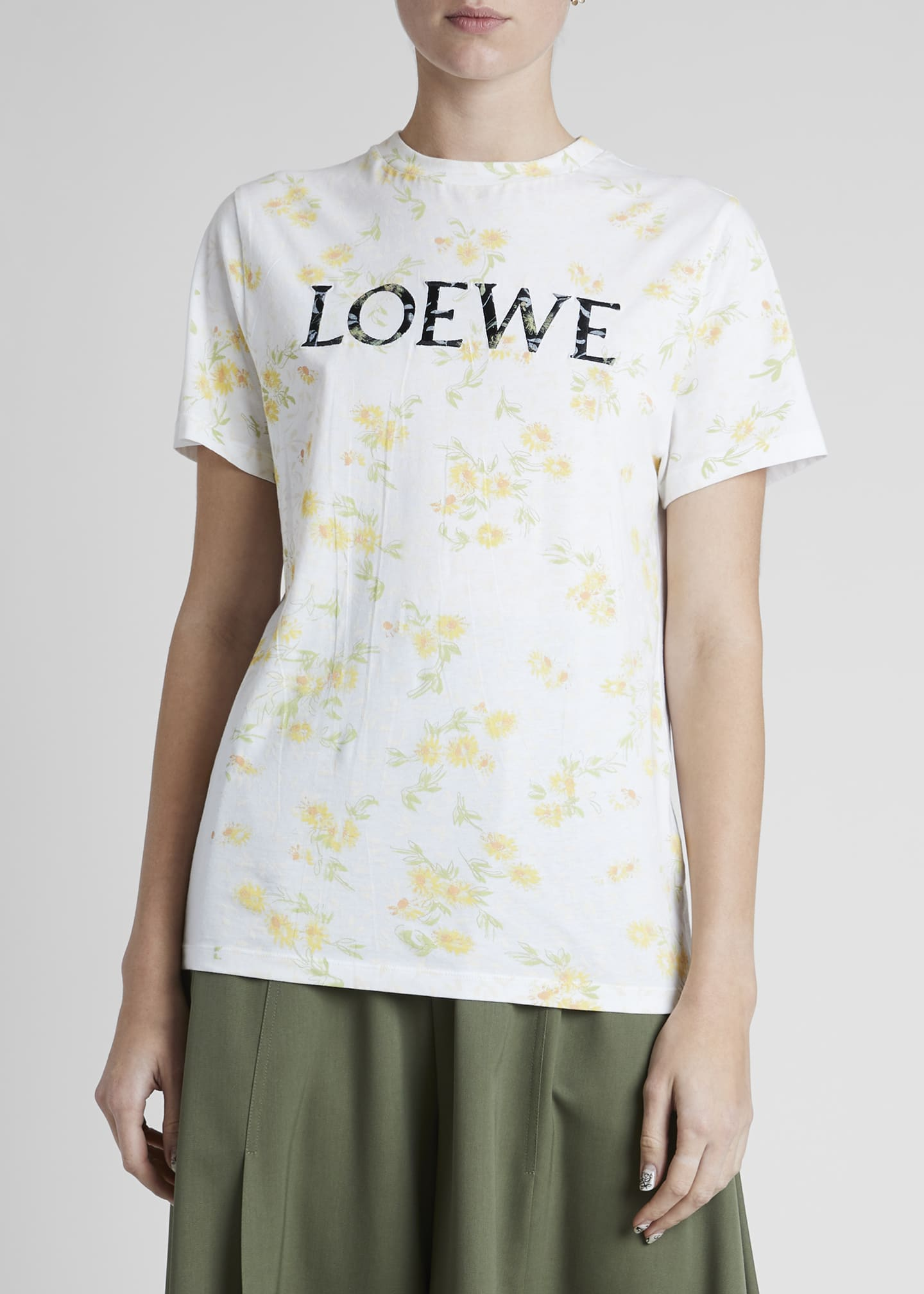 Image 3 of 4: Flower-Print Logo Graphic Tee