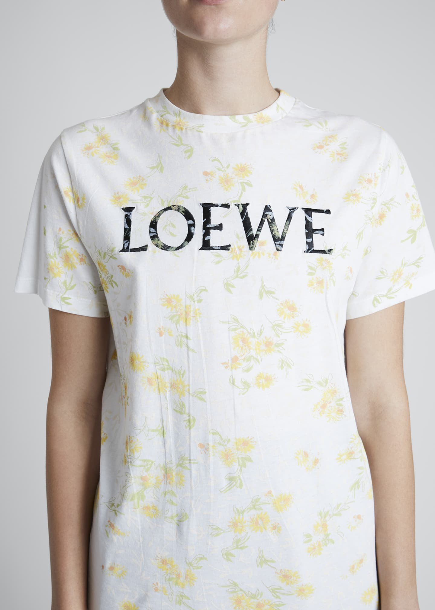 Image 4 of 4: Flower-Print Logo Graphic Tee