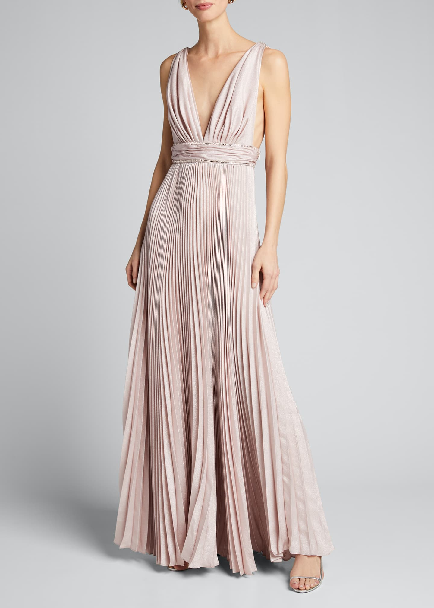 Image 3 of 5: Pleated Silk Belted Gown