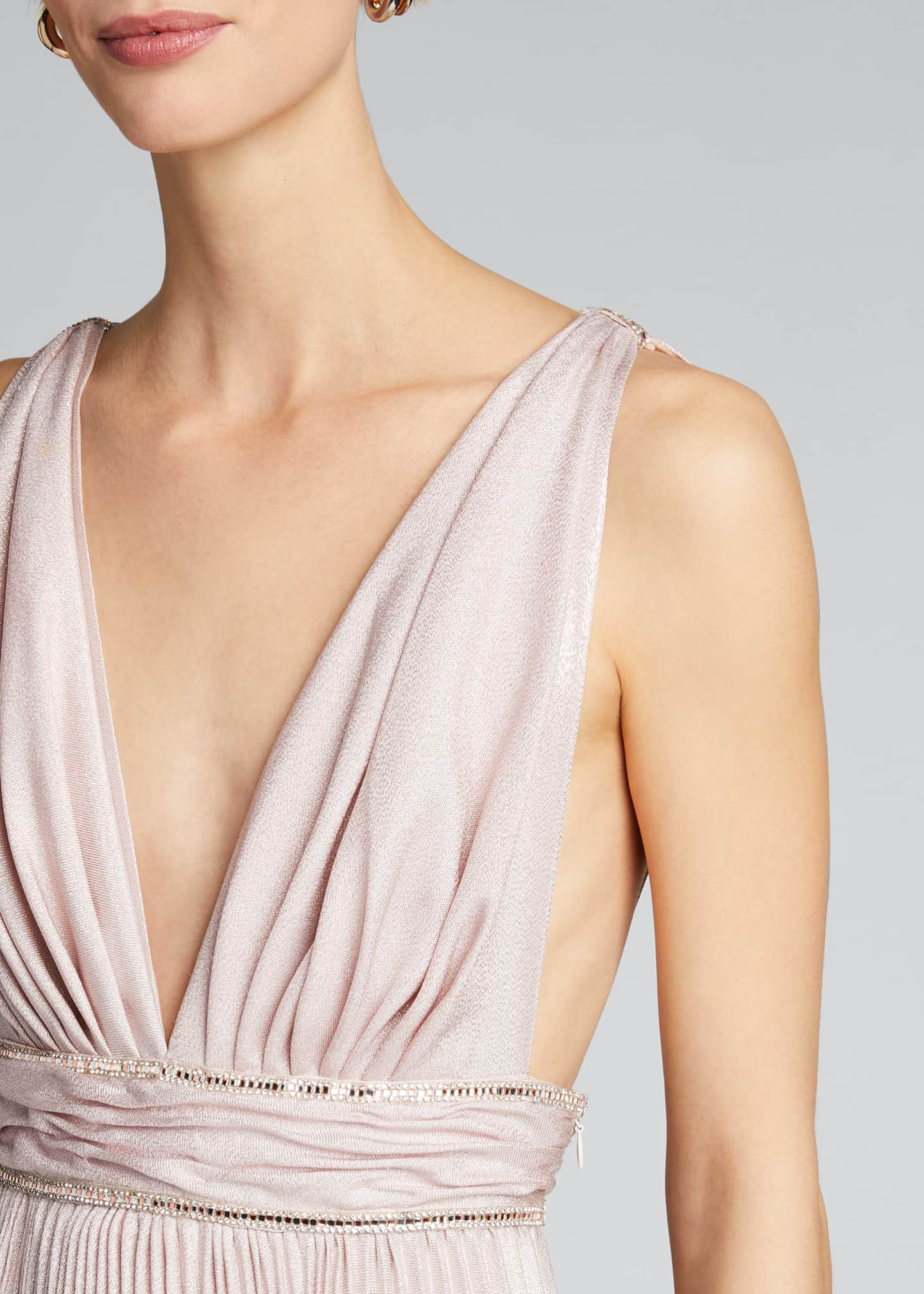 Image 4 of 5: Pleated Silk Belted Gown
