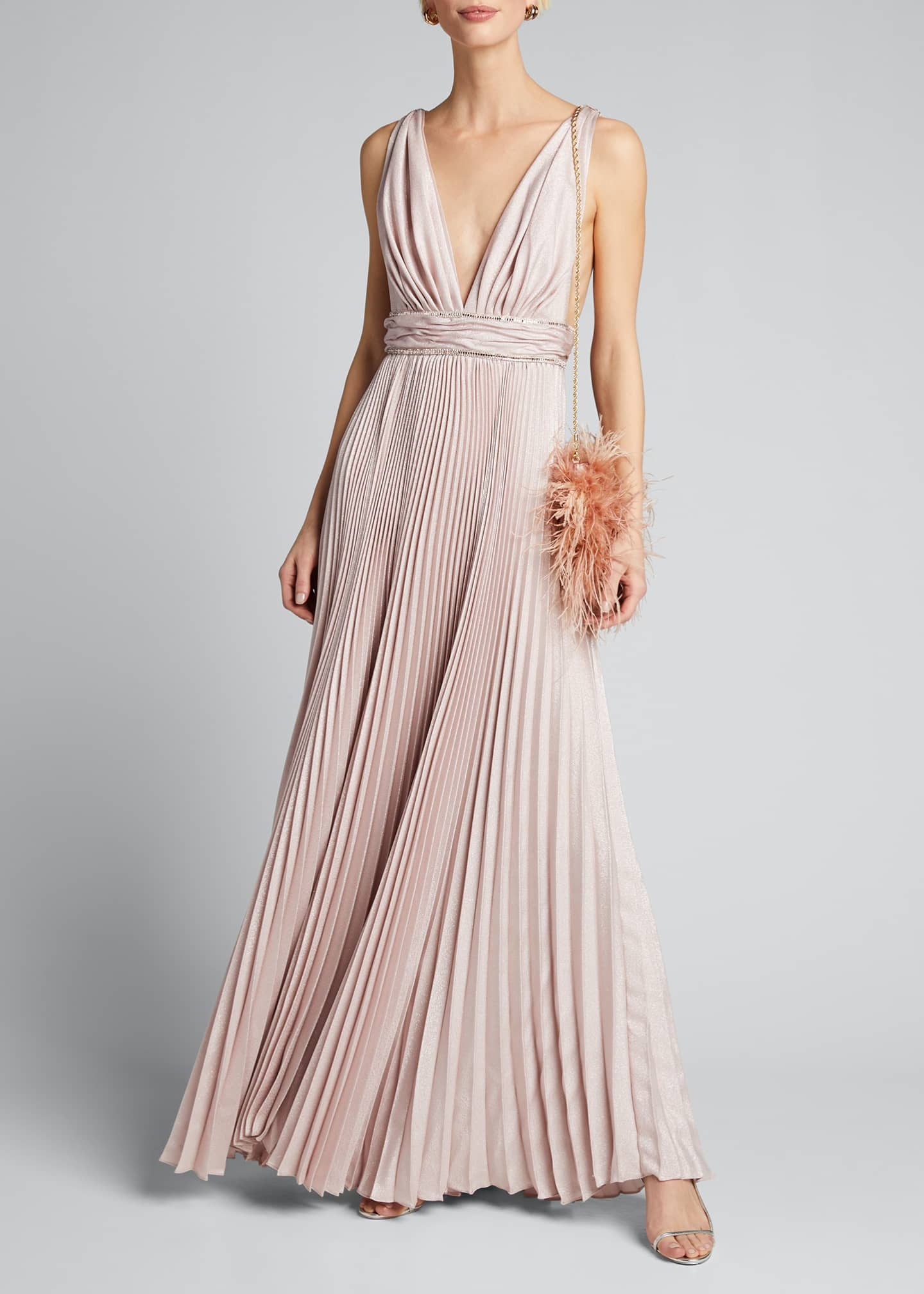 Image 1 of 5: Pleated Silk Belted Gown