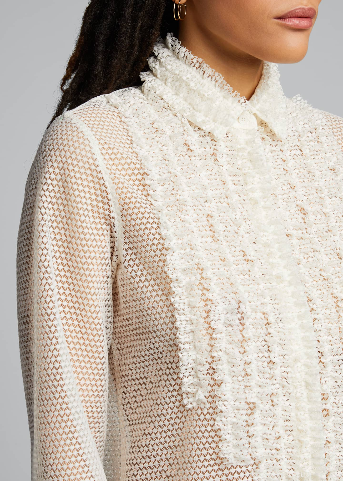 Image 4 of 5: Sakura Dotted Lace Shirt
