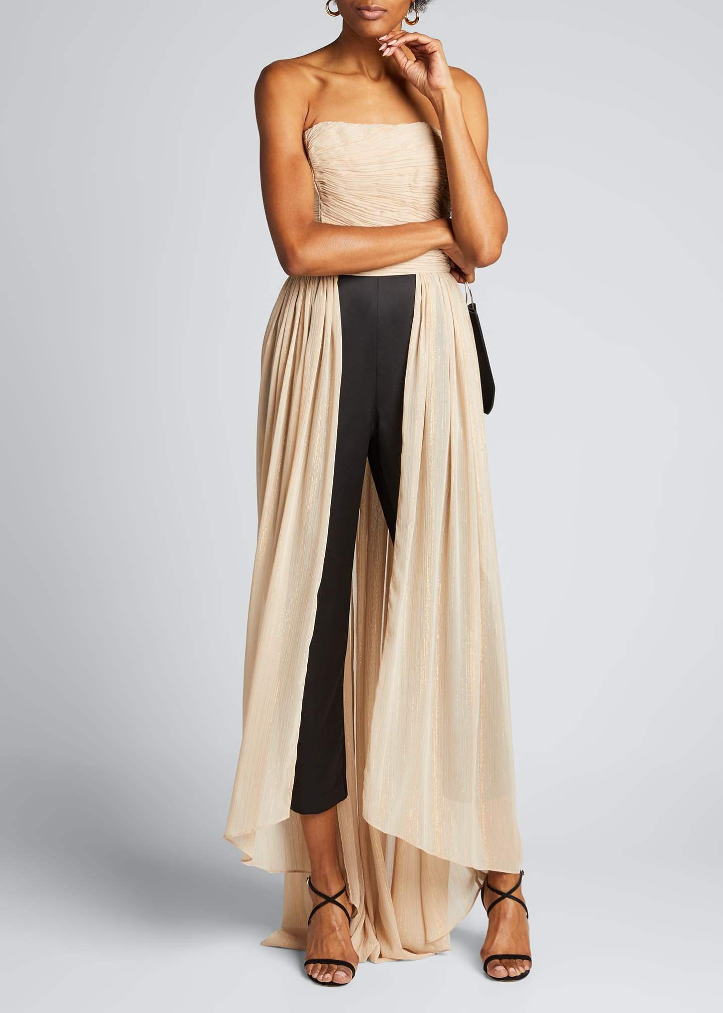 Image 3 of 5: Jumpsuit with Dramatic Pleated Skirt Overlay
