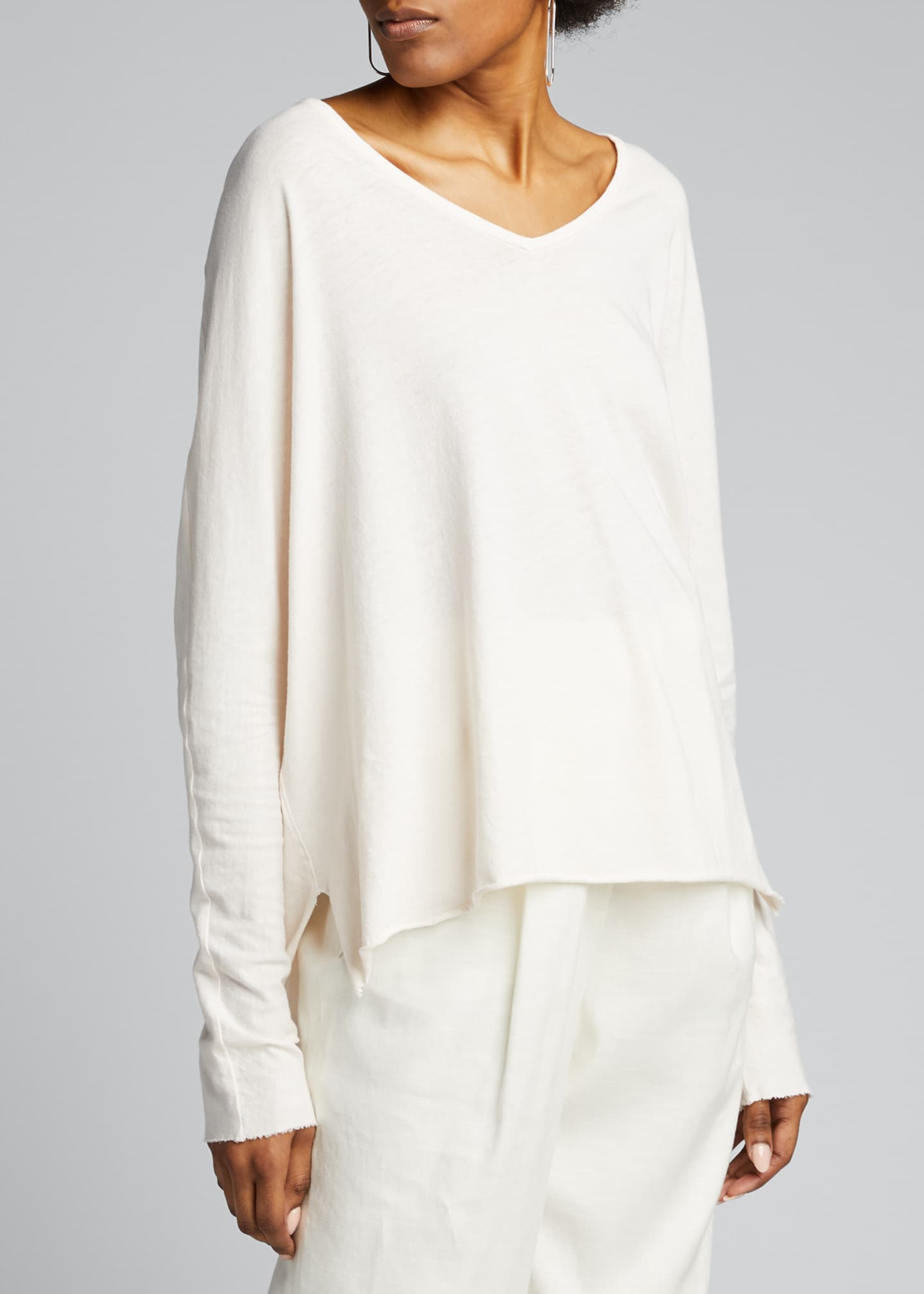 Image 3 of 5: Deep V-Neck Long-Sleeve Jersey Cotton Tee