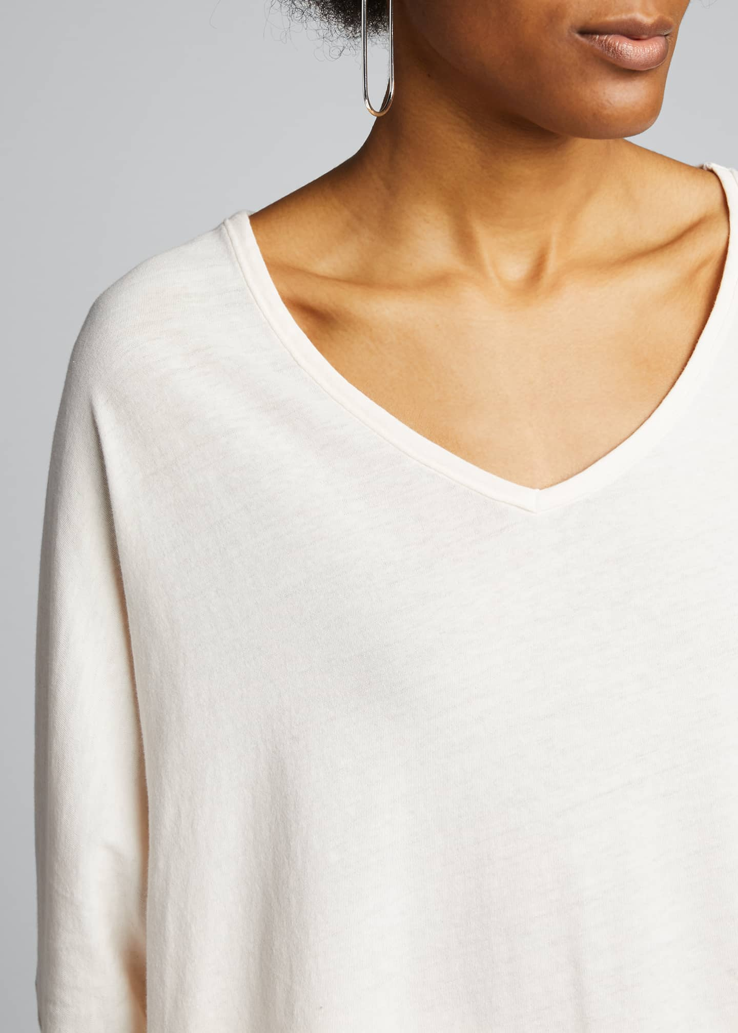 Image 4 of 5: Deep V-Neck Long-Sleeve Jersey Cotton Tee