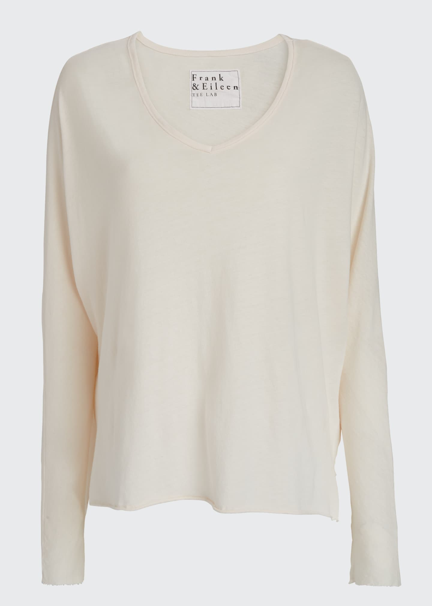 Image 5 of 5: Deep V-Neck Long-Sleeve Jersey Cotton Tee