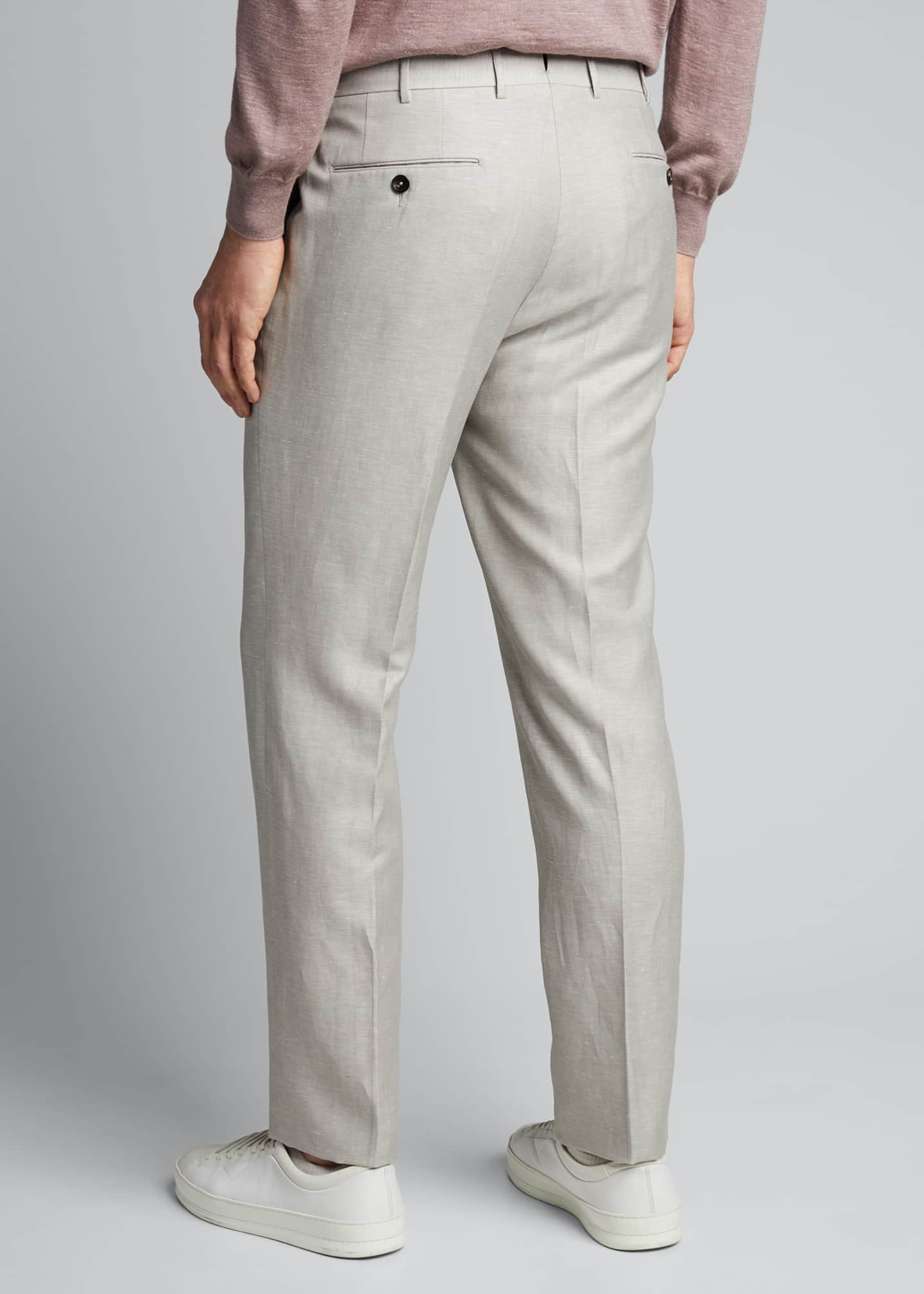 Image 2 of 5: Men's Flat-Front Linen Pants