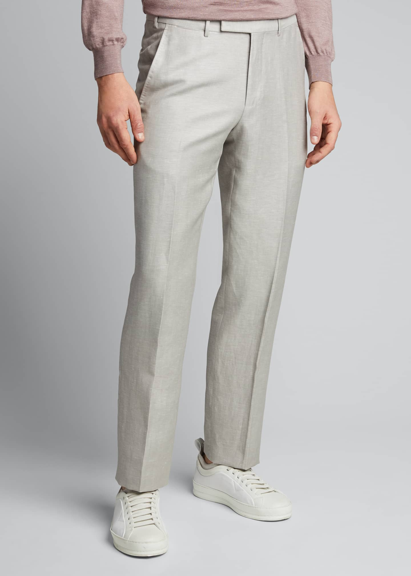 Image 3 of 5: Men's Flat-Front Linen Pants