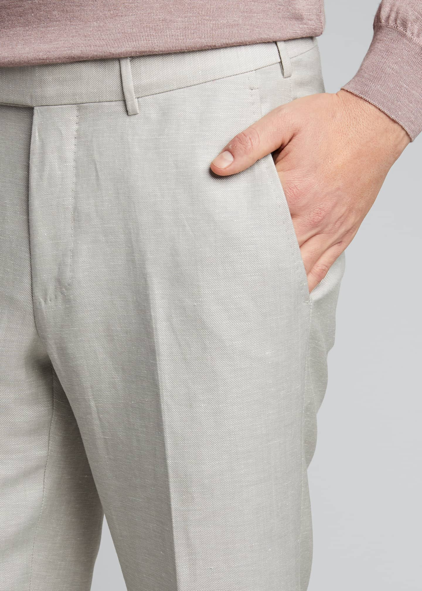 Image 4 of 5: Men's Flat-Front Linen Pants