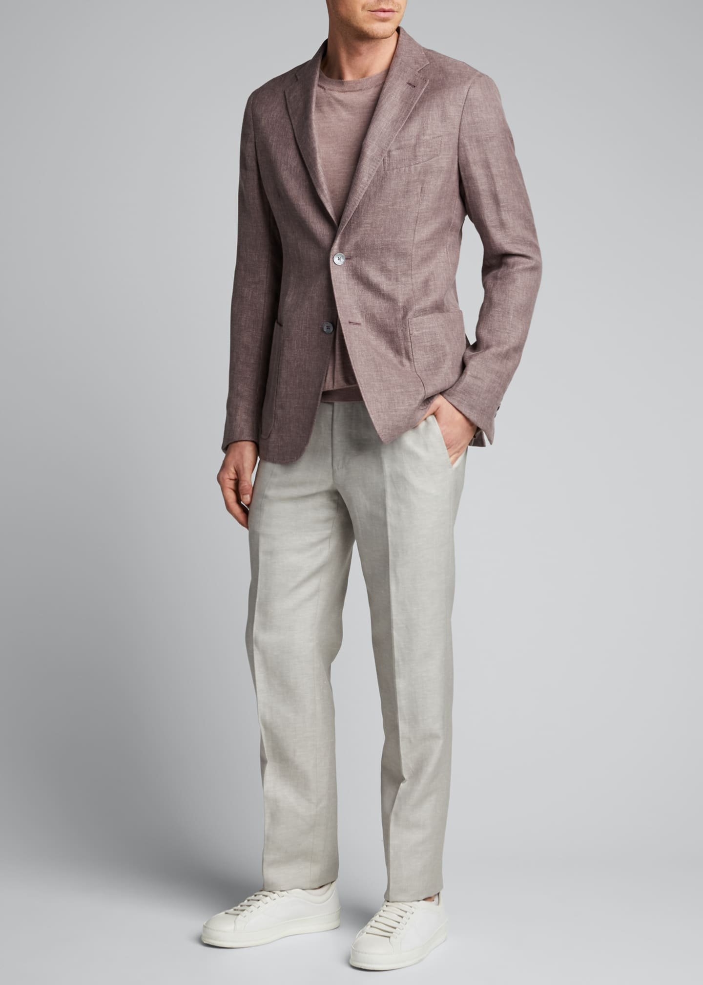 Image 1 of 5: Men's Flat-Front Linen Pants