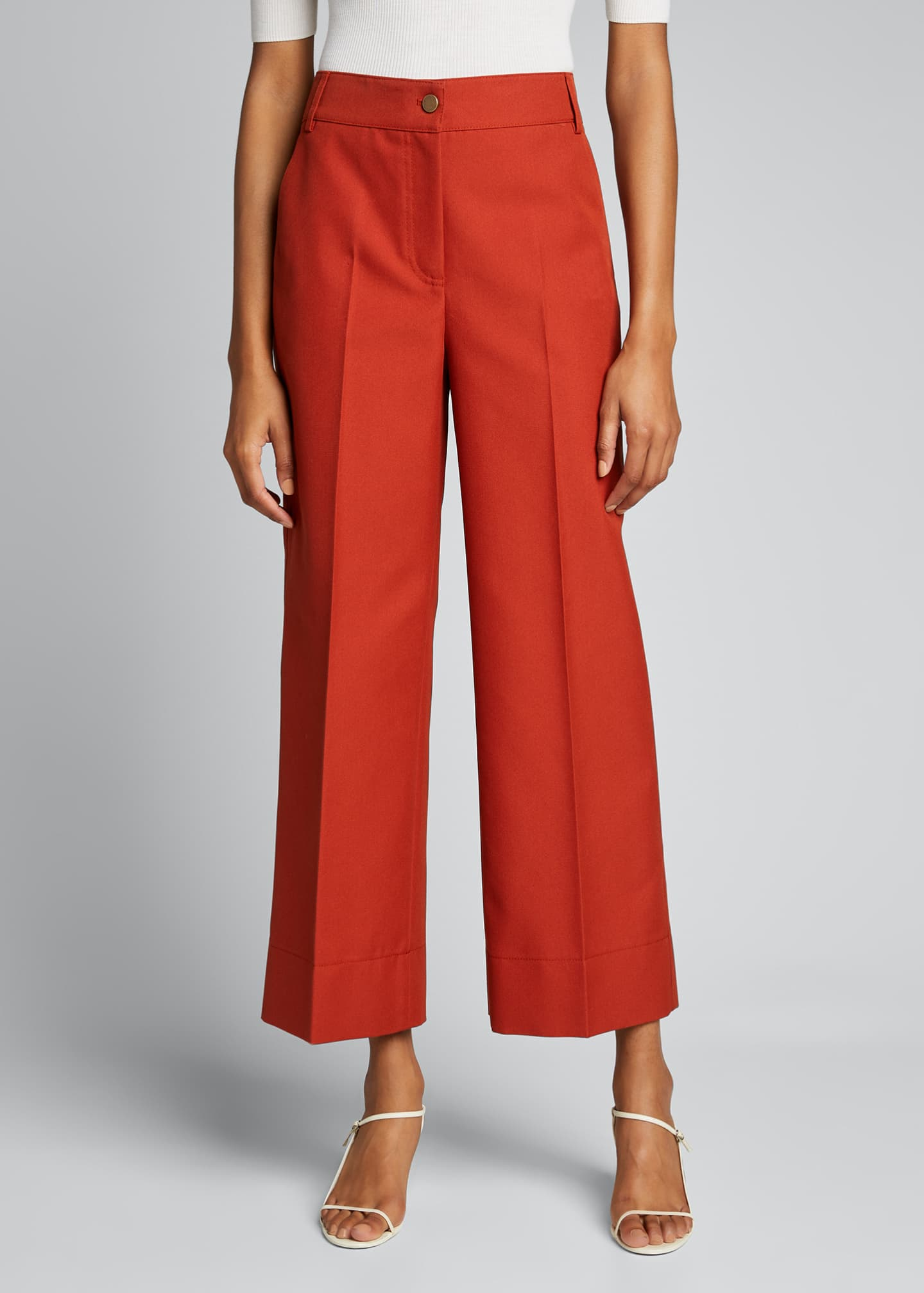 Image 3 of 5: Chiara Mercerized Cotton Culotte Pants