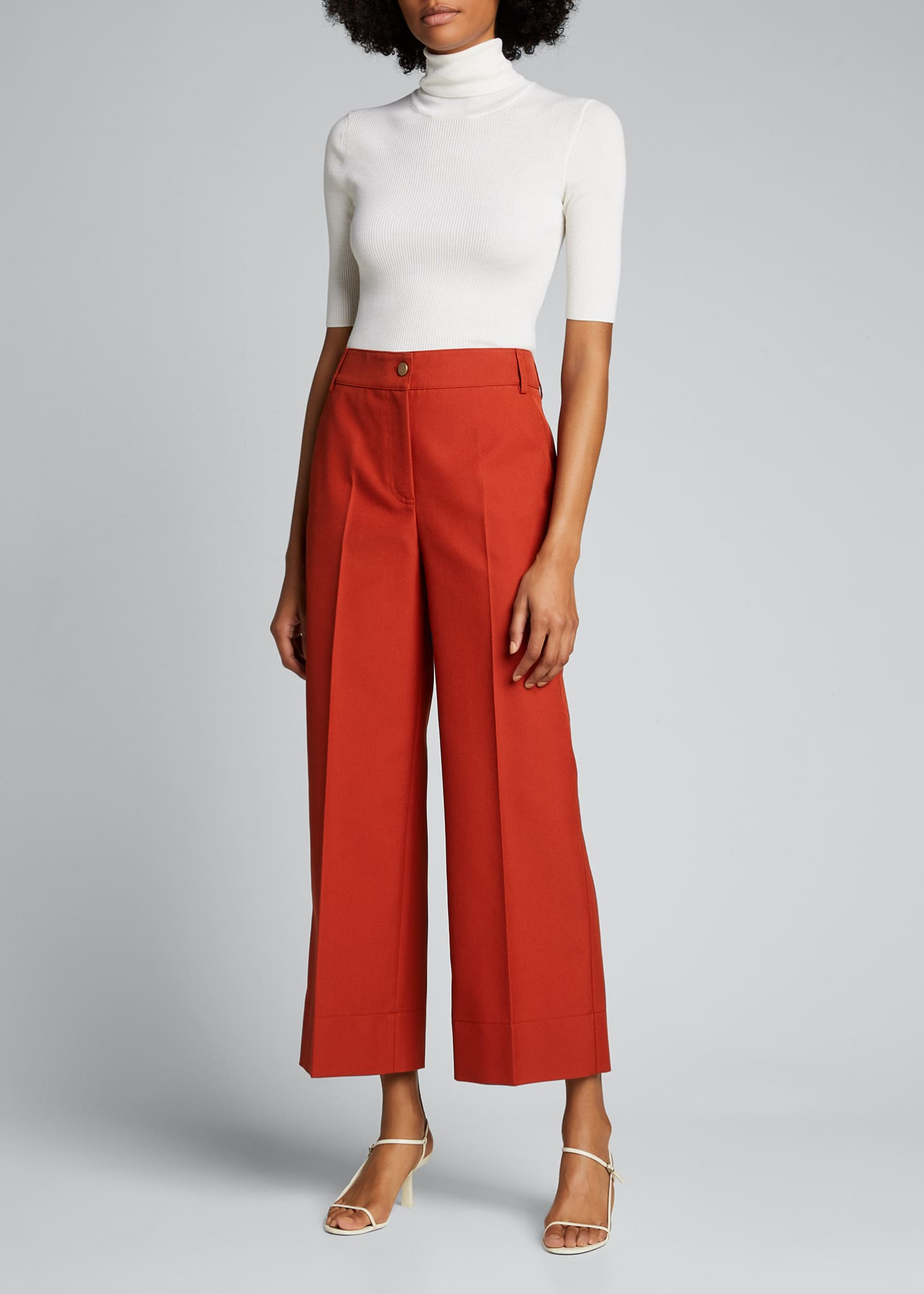 Image 1 of 5: Chiara Mercerized Cotton Culotte Pants