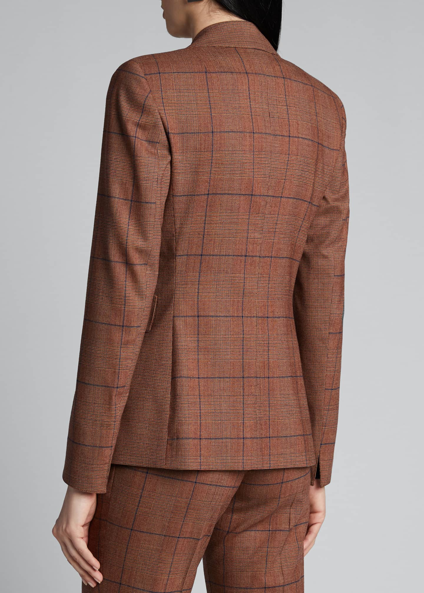 Image 2 of 5: Glen-Checked Pebble Crepe Blazer