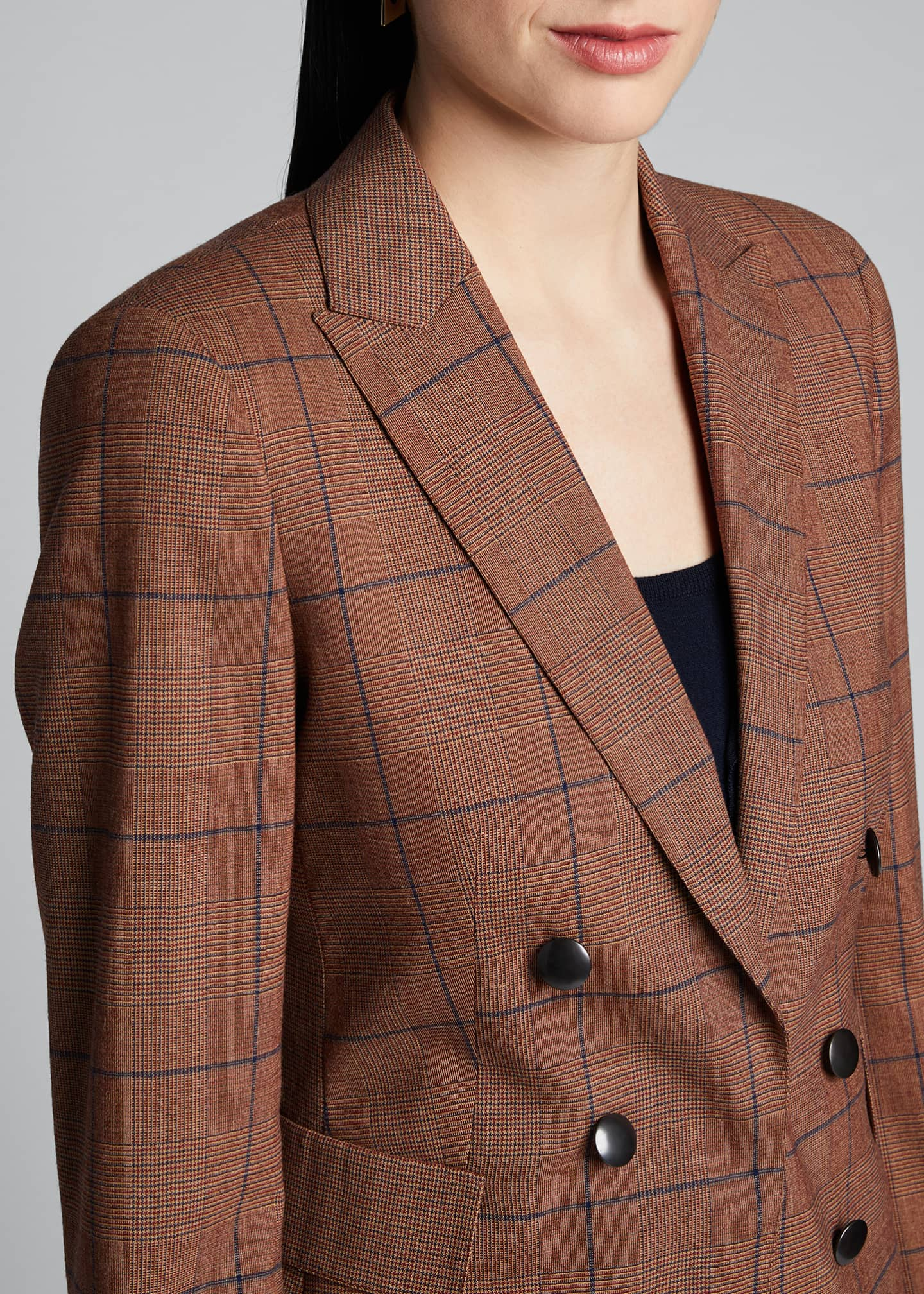Image 4 of 5: Glen-Checked Pebble Crepe Blazer
