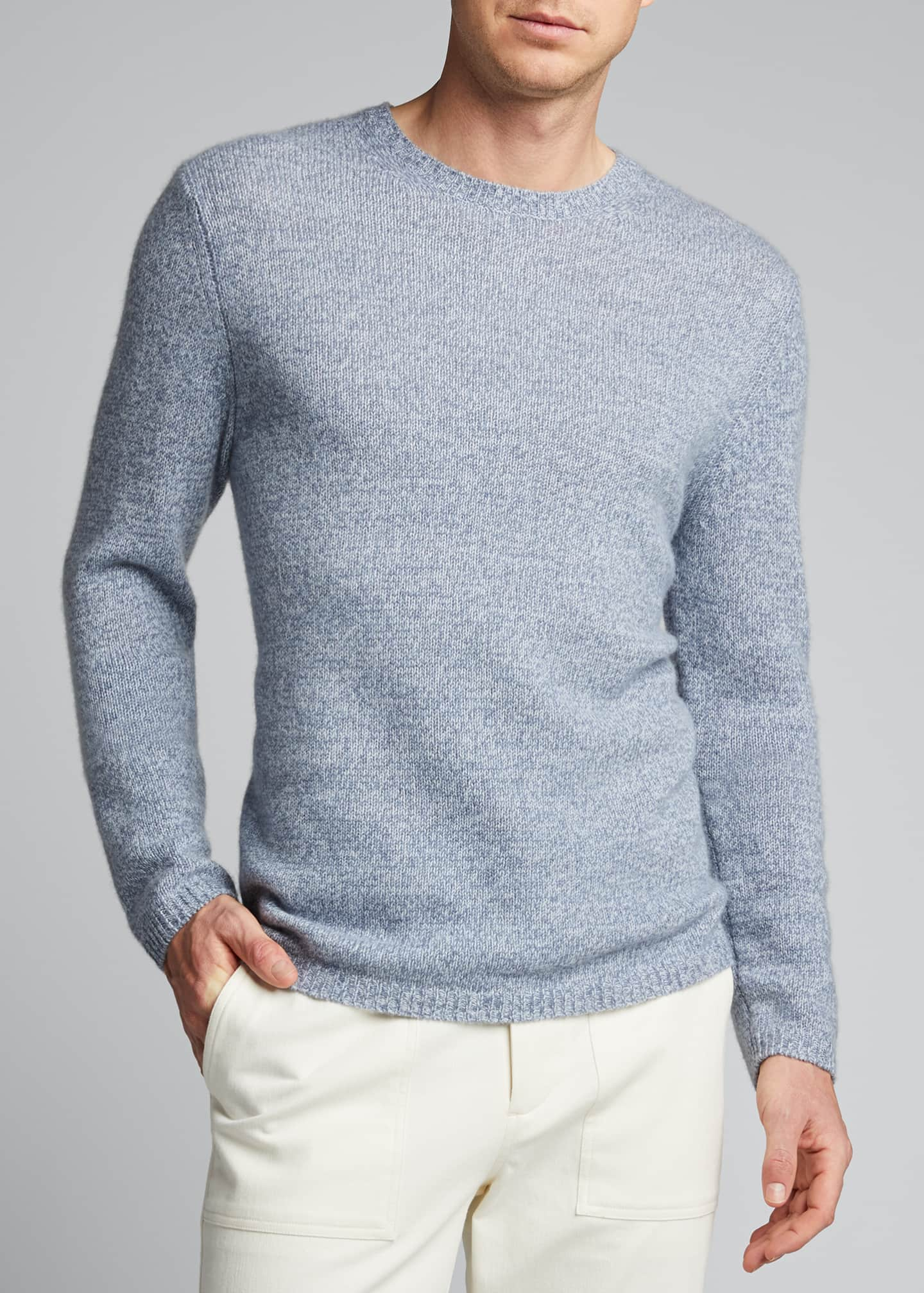 Image 3 of 5: Men's Solid Cashmere Crewneck Sweater