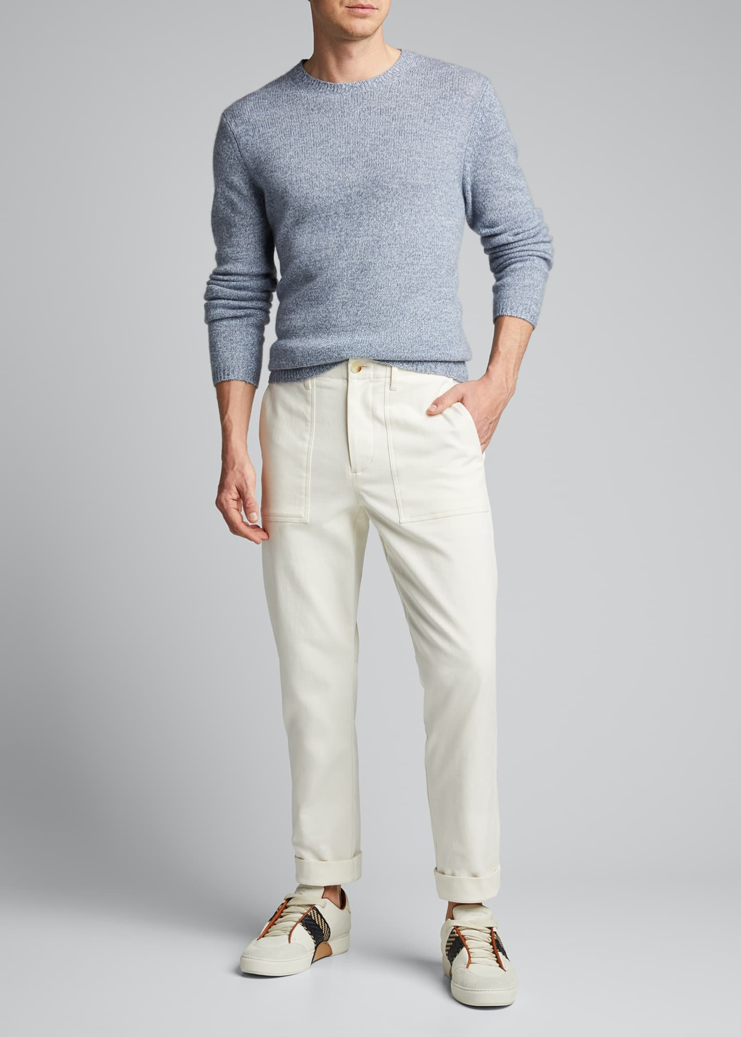 Image 1 of 5: Men's Solid Cashmere Crewneck Sweater
