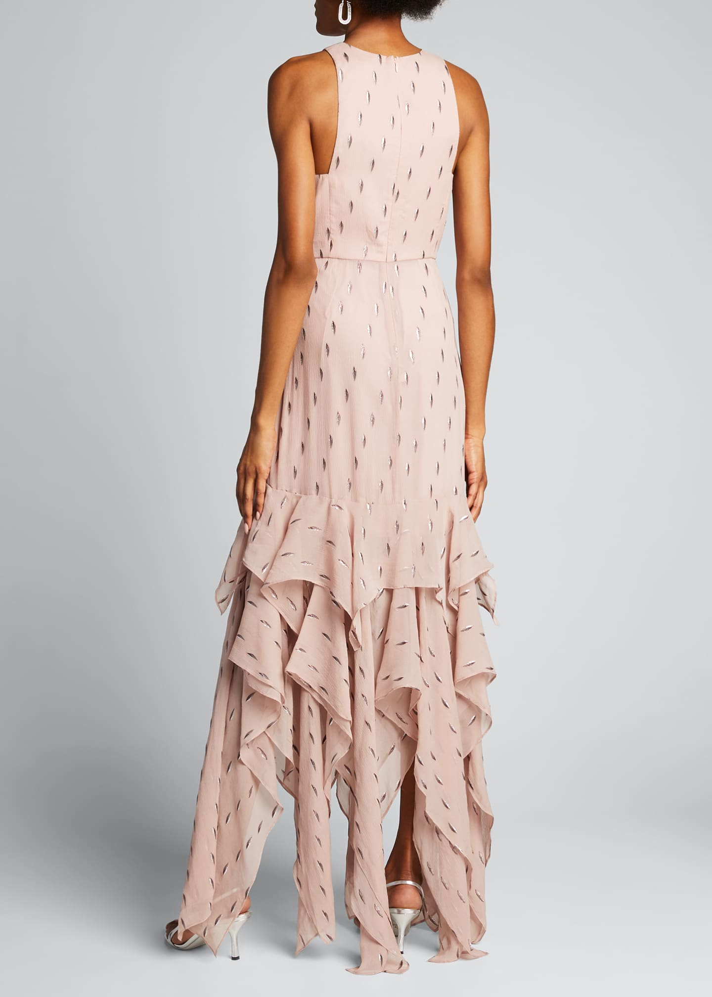 Image 2 of 5: Metallic Clip Jacquard Ruffle Skirt Gown