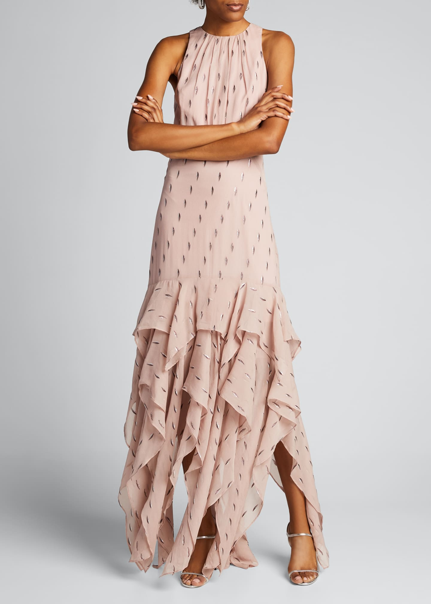 Image 3 of 5: Metallic Clip Jacquard Ruffle Skirt Gown
