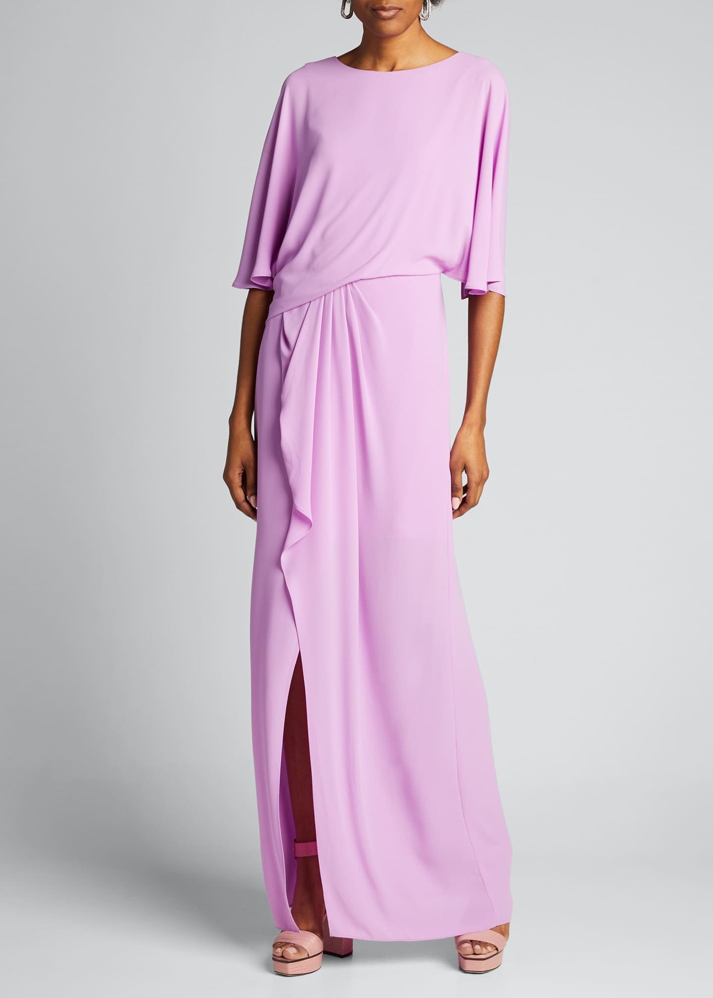 Image 1 of 5: Drape Back 1/2-Sleeve Silky Georgette Gown