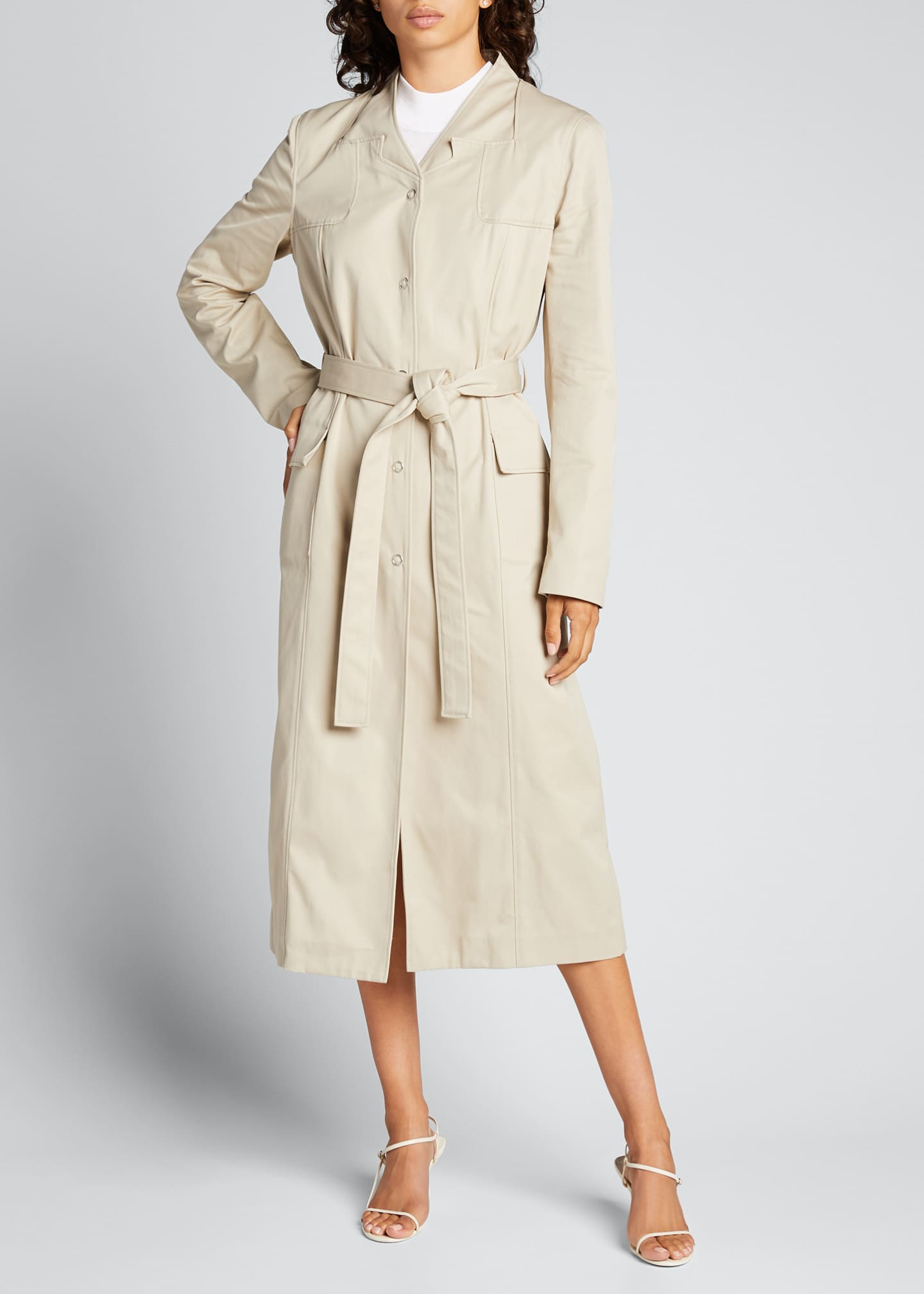 Image 3 of 5: Trompe L'Oeil Belted Trench Coat