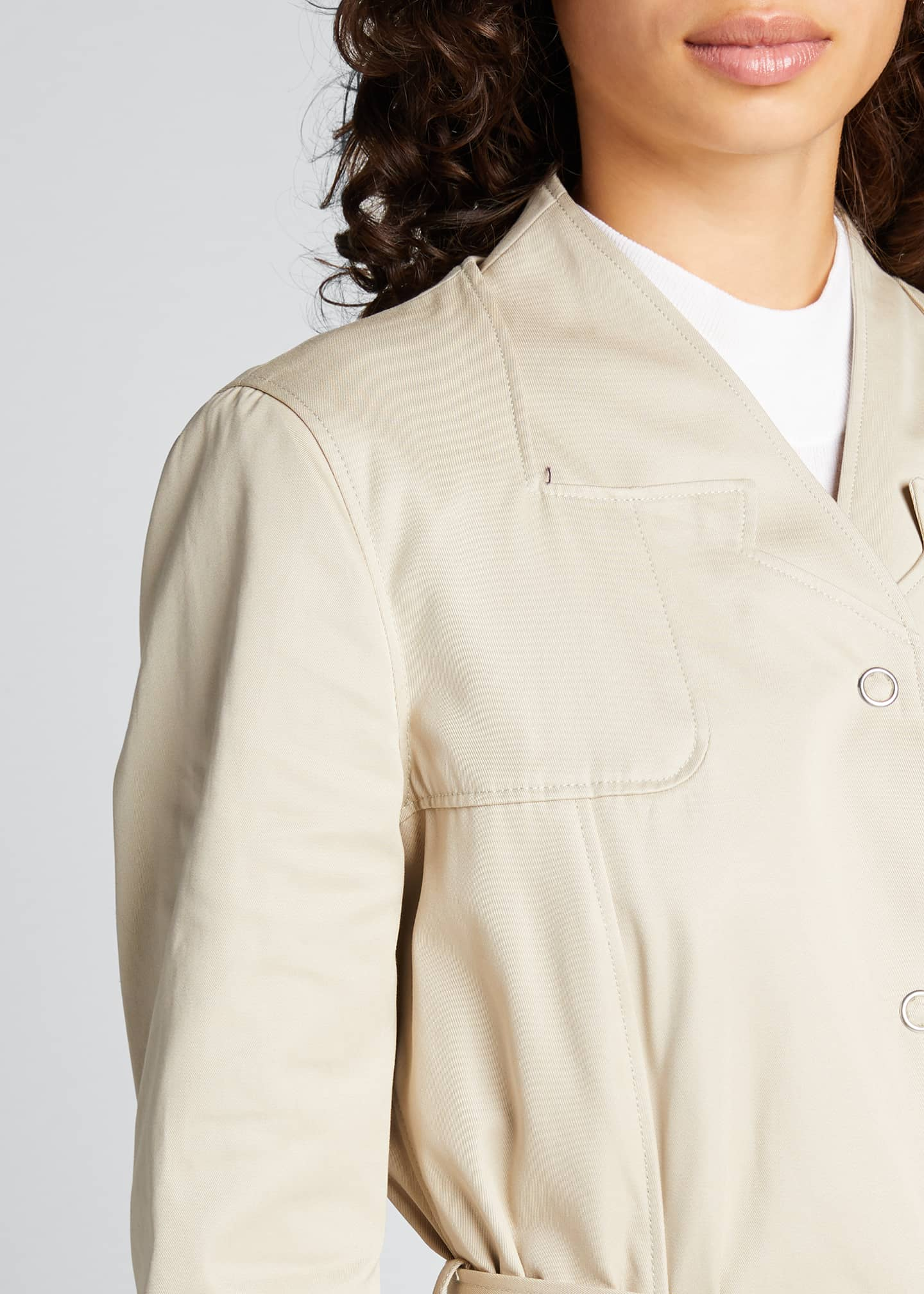 Image 4 of 5: Trompe L'Oeil Belted Trench Coat