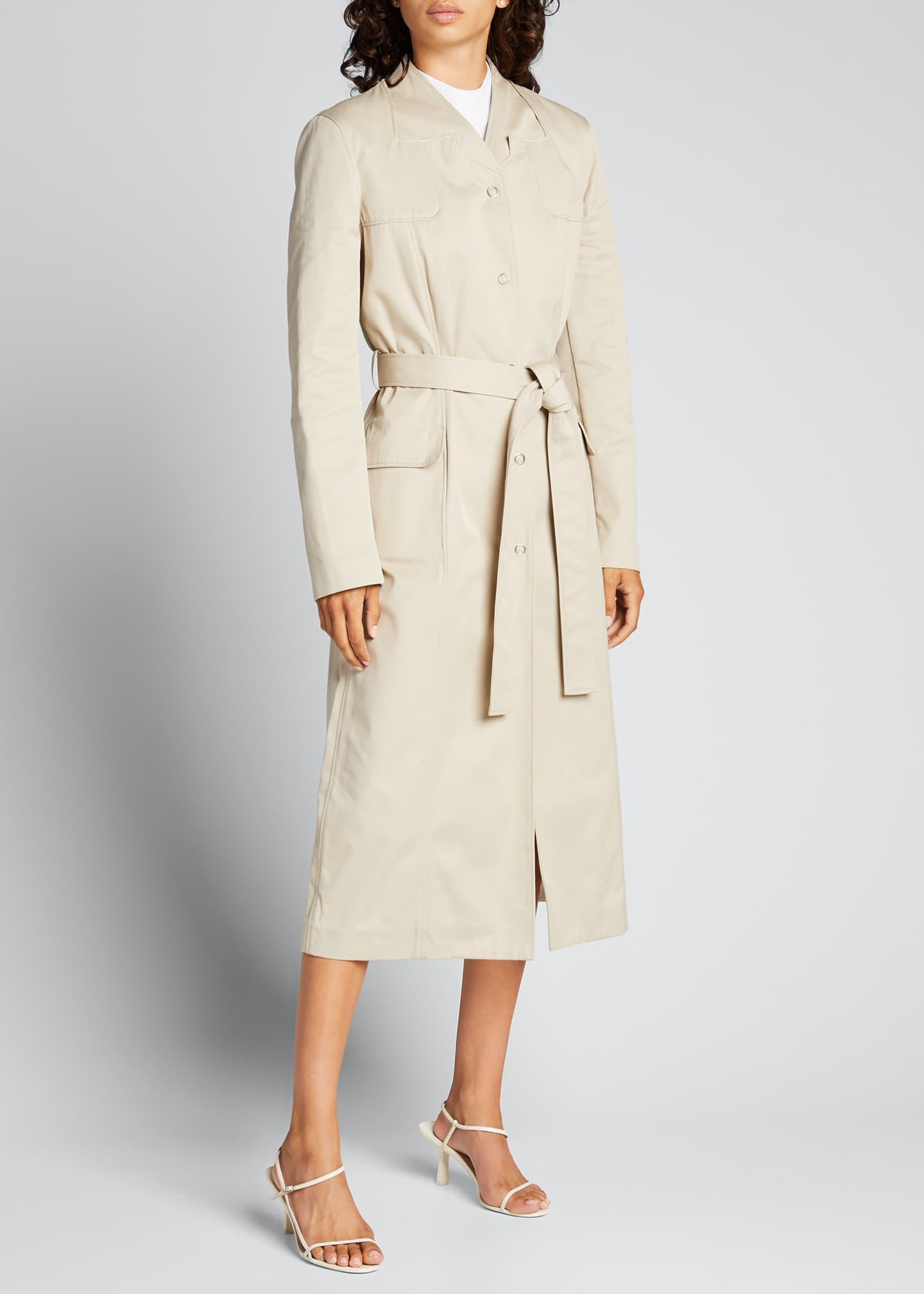 Image 1 of 5: Trompe L'Oeil Belted Trench Coat