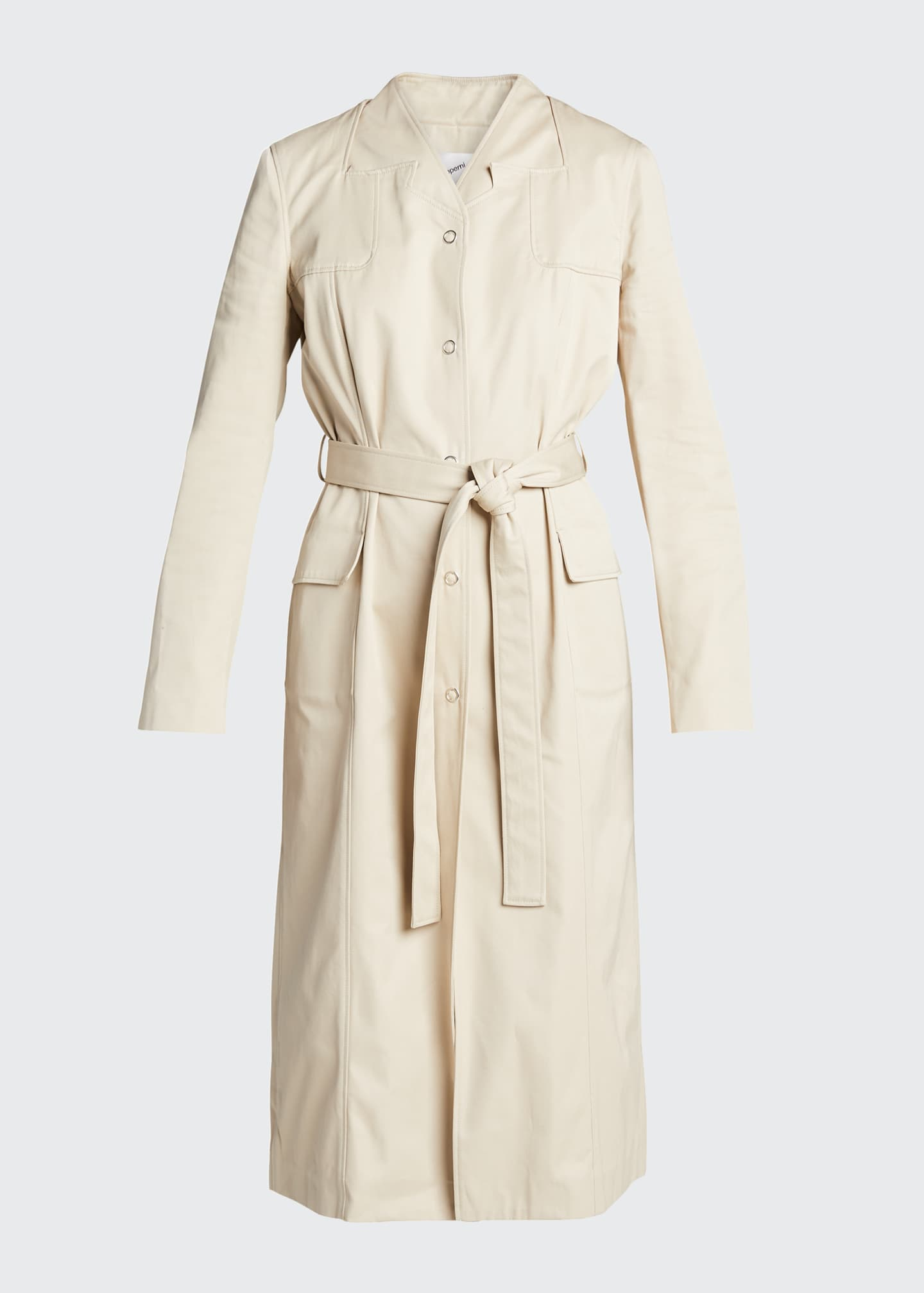 Image 5 of 5: Trompe L'Oeil Belted Trench Coat