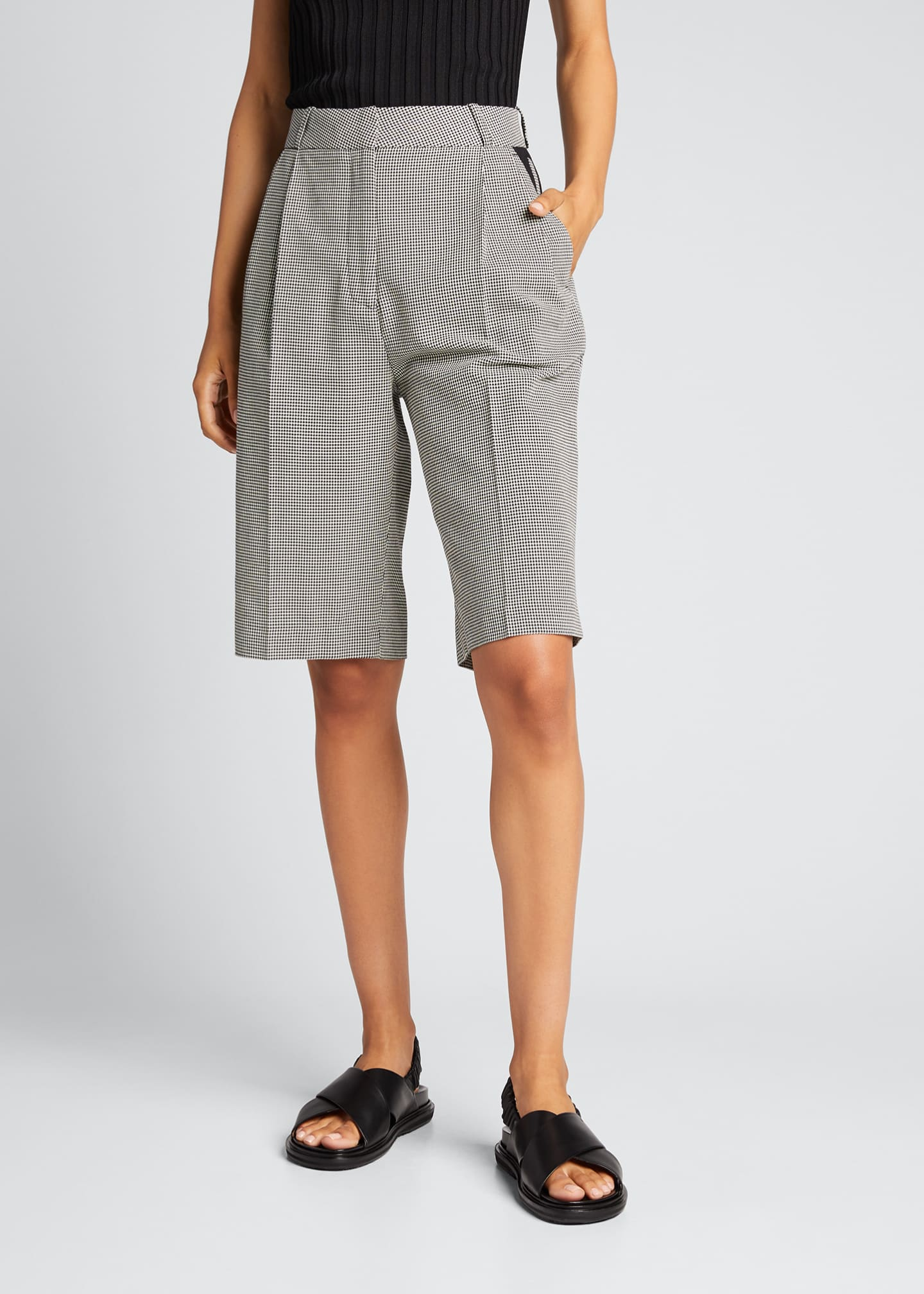 Image 3 of 5: Relaxed Houndstooth Bermuda Shorts
