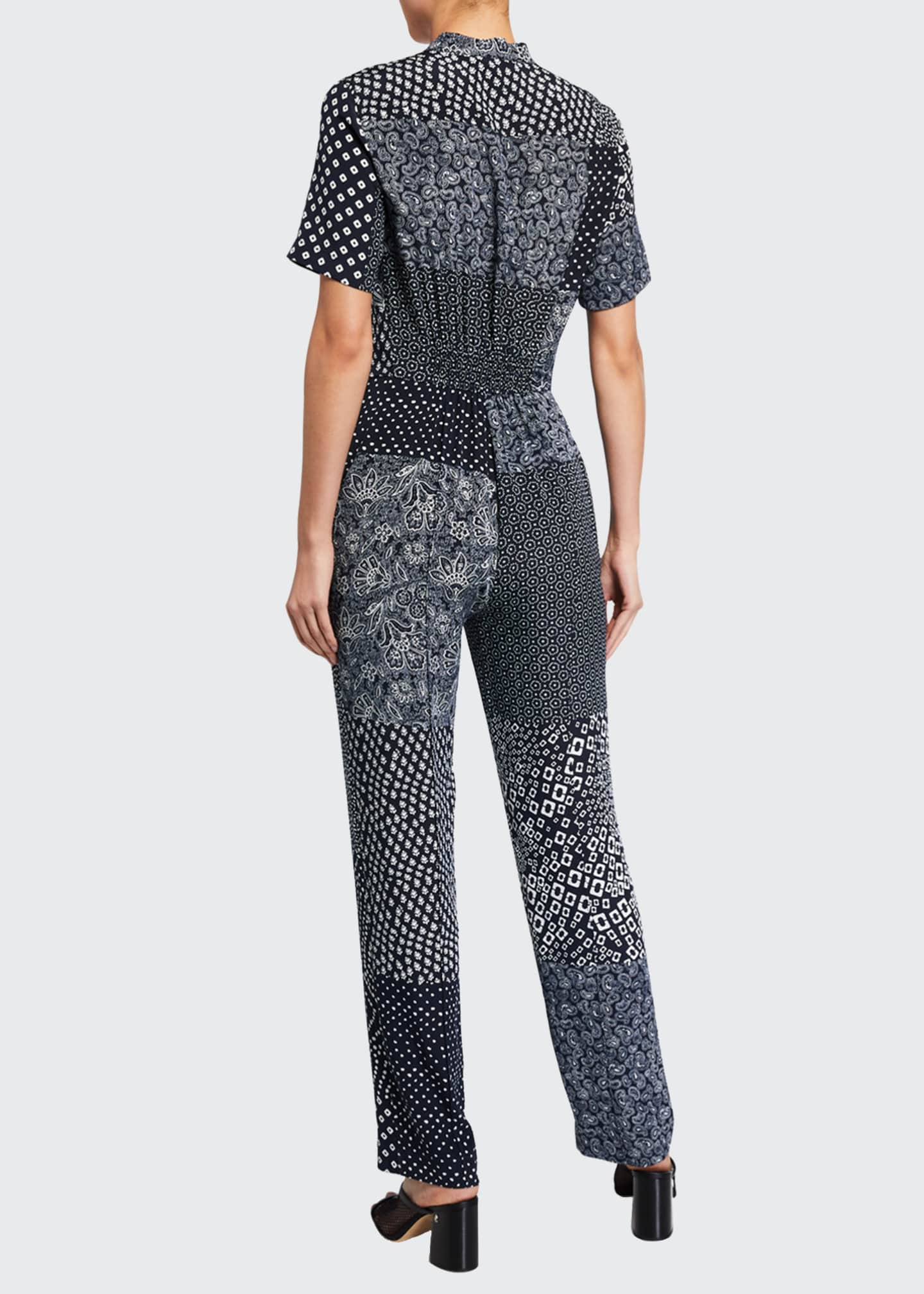 Image 2 of 2: Lucy Patchwork Silk Shirt Jumpsuit