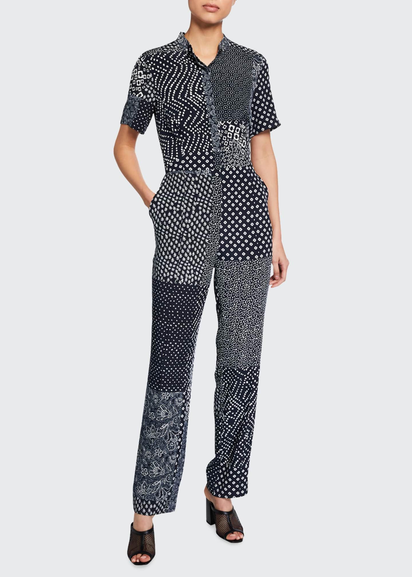 Image 1 of 2: Lucy Patchwork Silk Shirt Jumpsuit