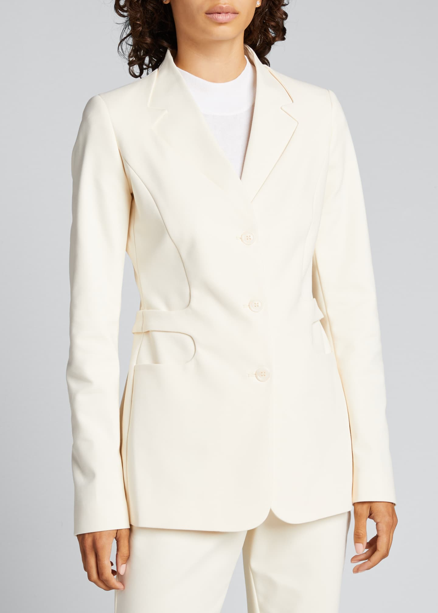 Image 3 of 5: Trompe L'Oeil Belted Tailored Jacket