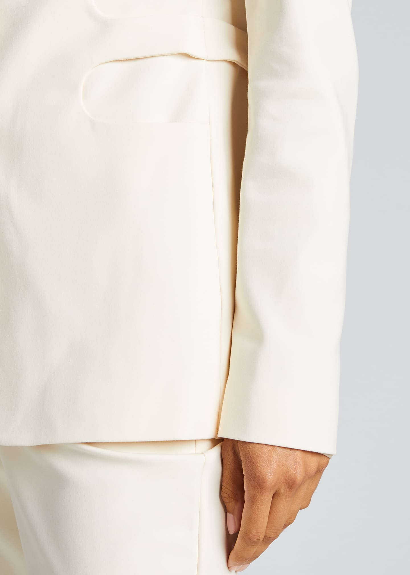 Image 4 of 5: Trompe L'Oeil Belted Tailored Jacket