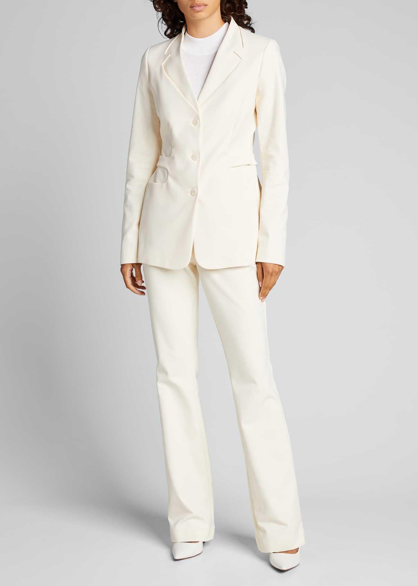 Image 1 of 5: Trompe L'Oeil Belted Tailored Jacket