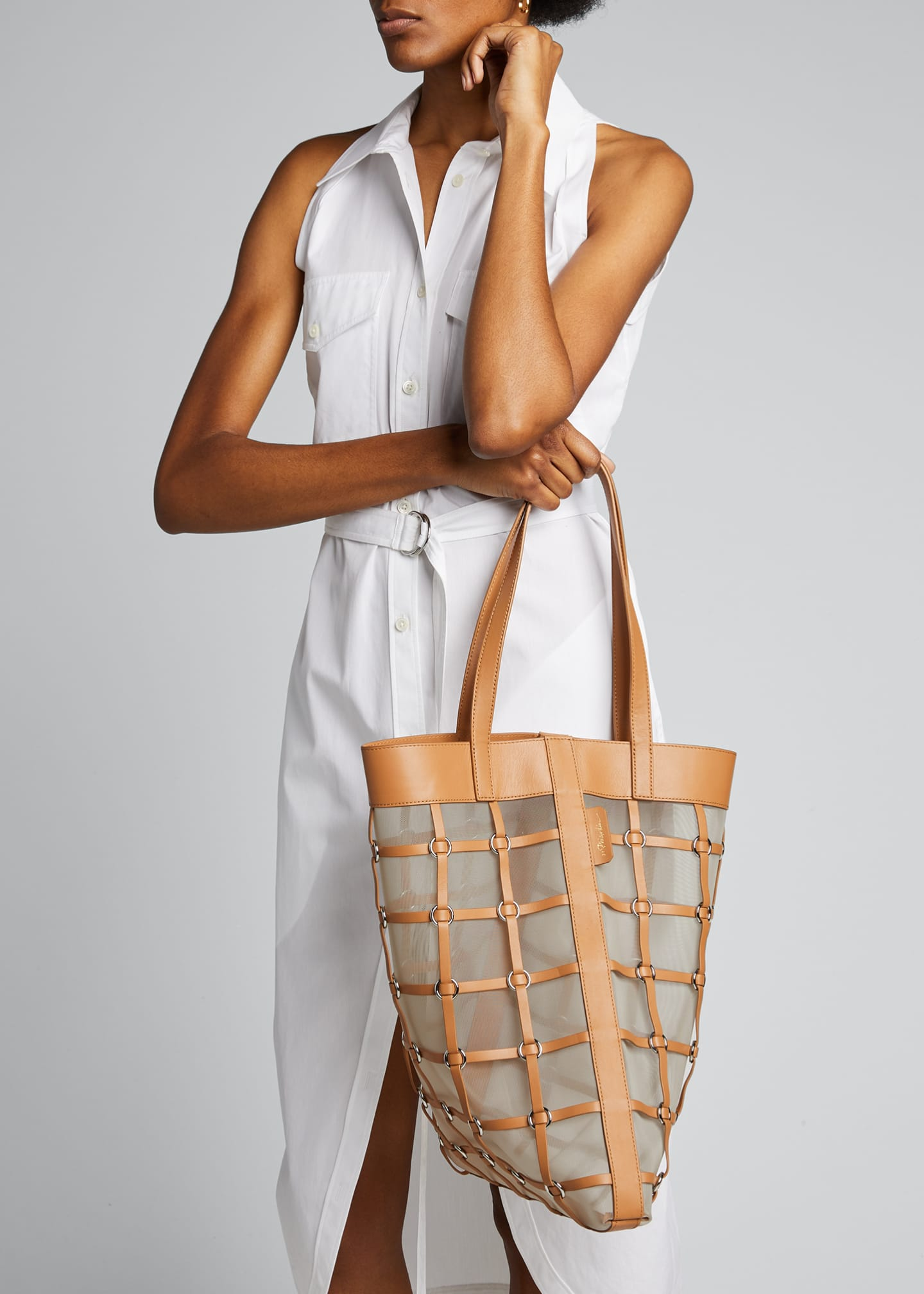 Image 2 of 5: Billie Medium Twisted Cage Tote Bag