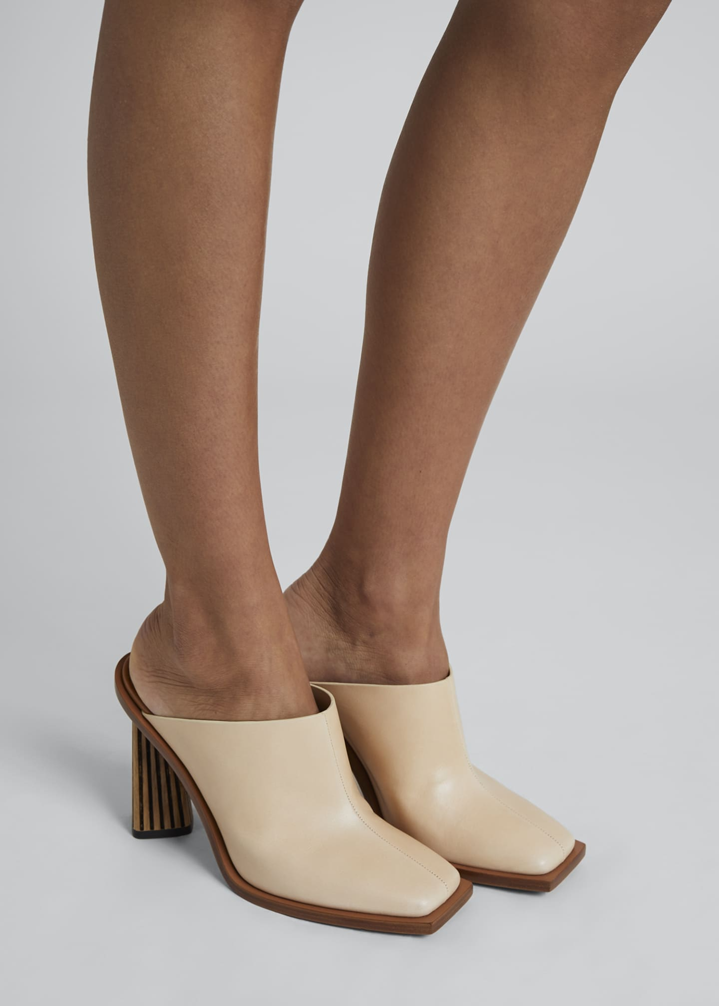 Image 2 of 4: Show Striped-Heel Leather Mules