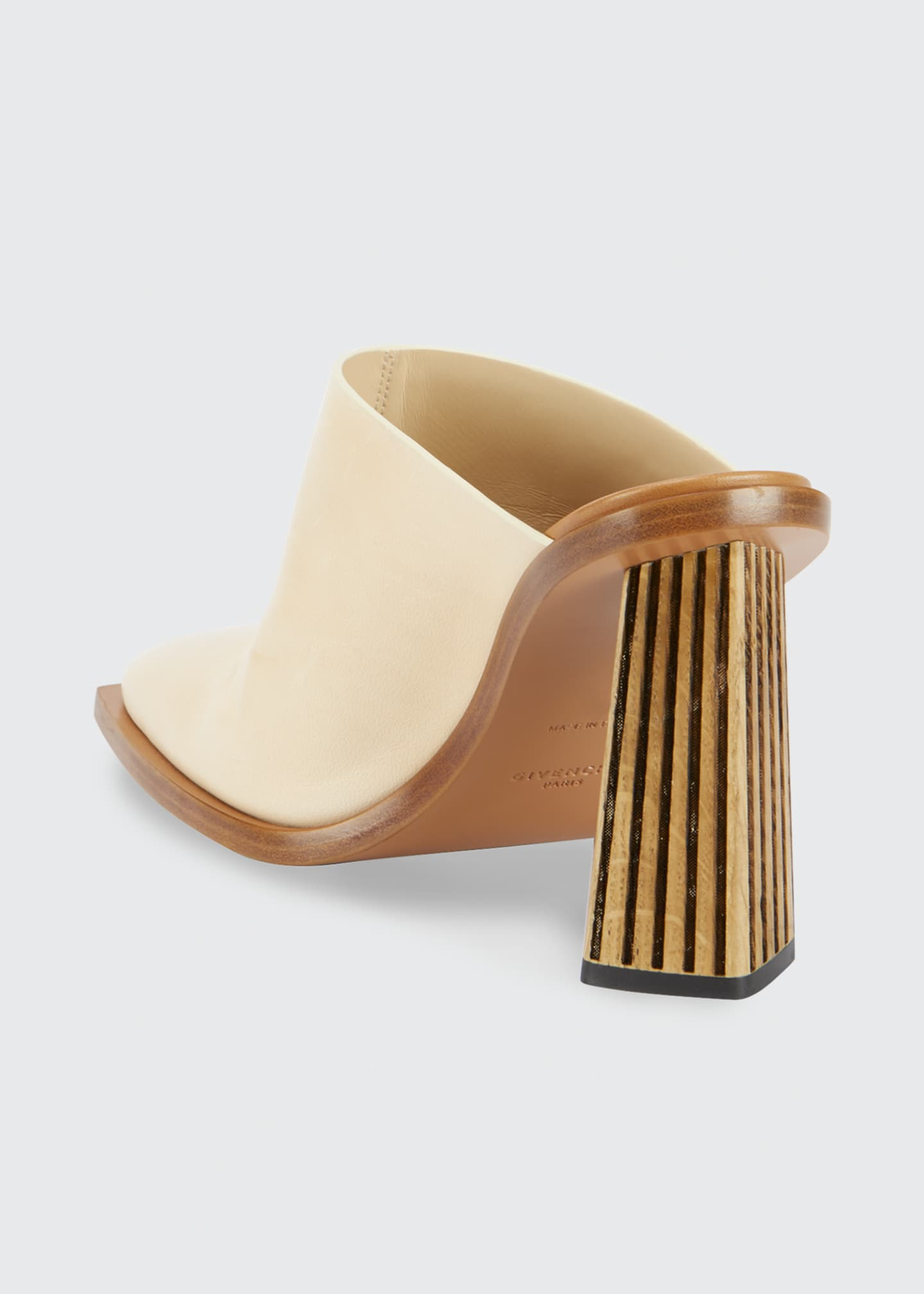 Image 3 of 4: Show Striped-Heel Leather Mules