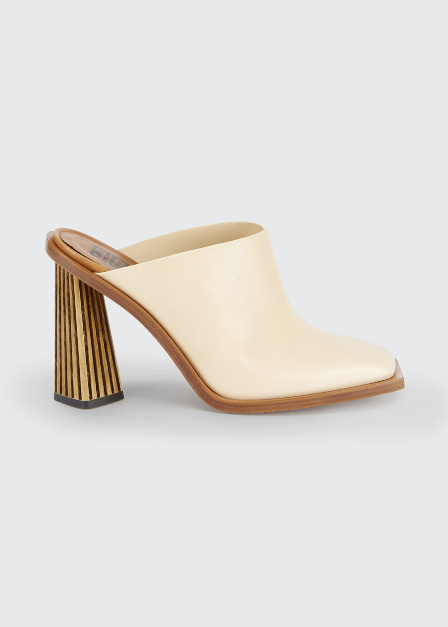Image 1 of 4: Show Striped-Heel Leather Mules