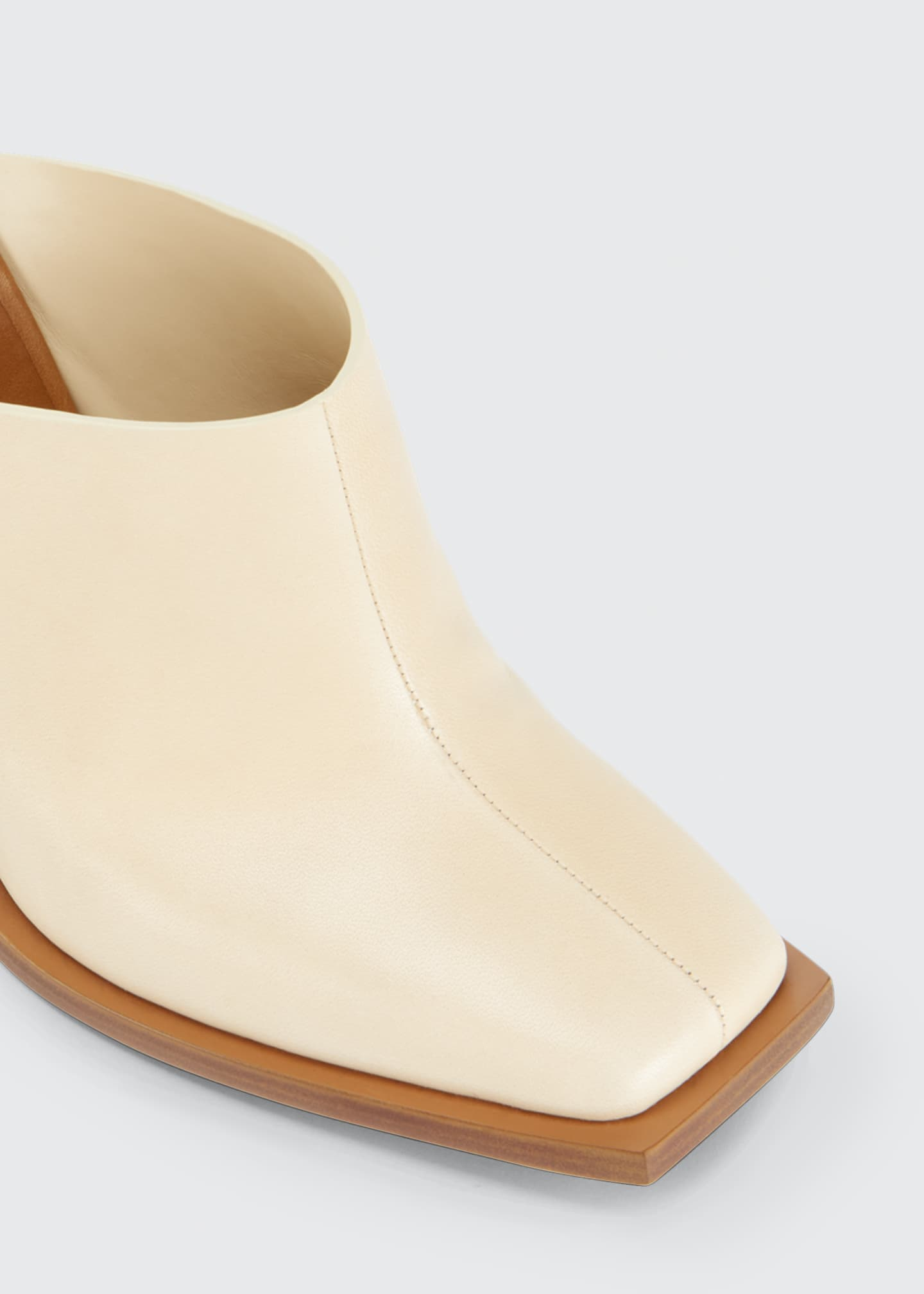 Image 4 of 4: Show Striped-Heel Leather Mules