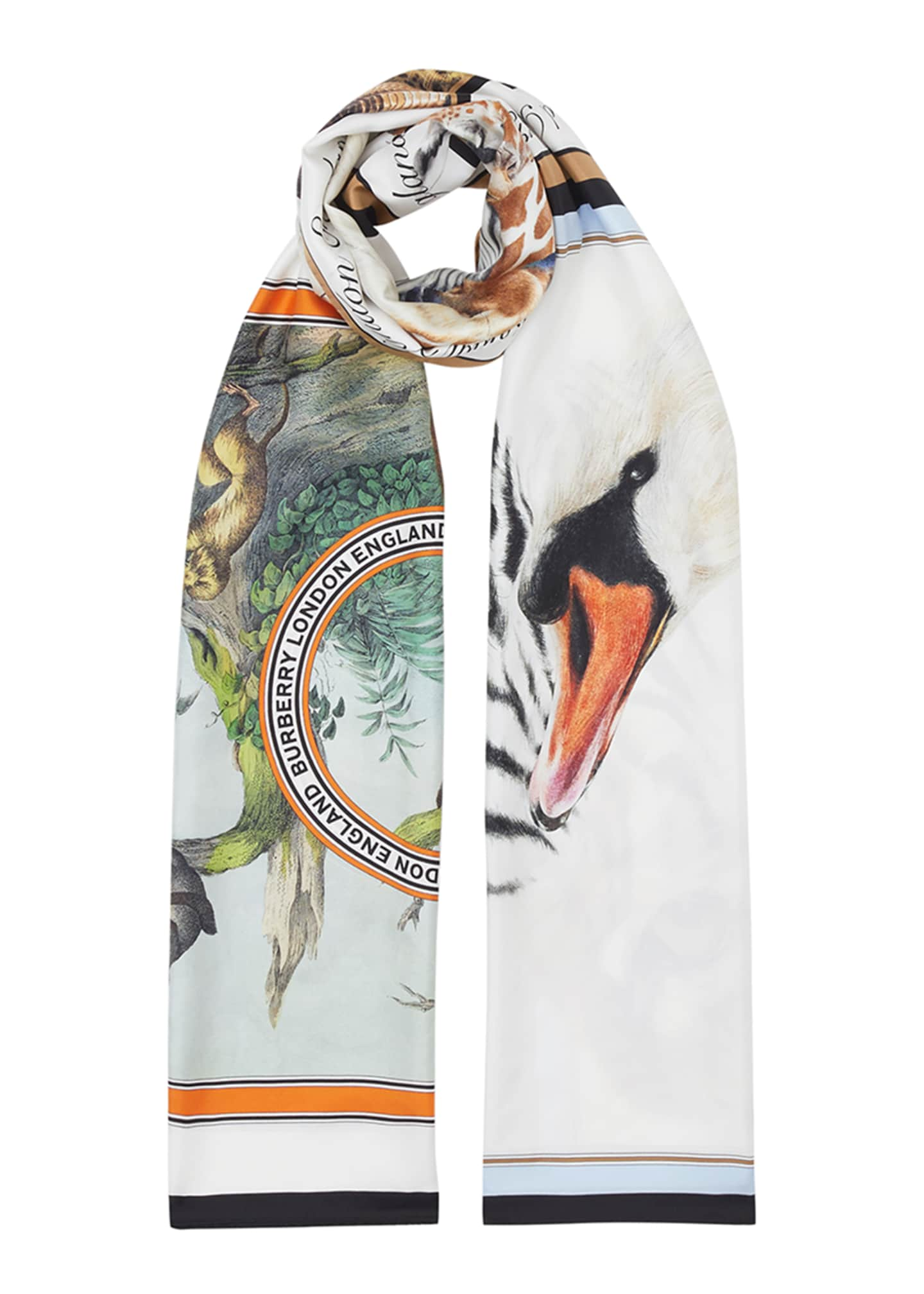 Image 4 of 4: Sketched Animals Rectangle Silk Scarf